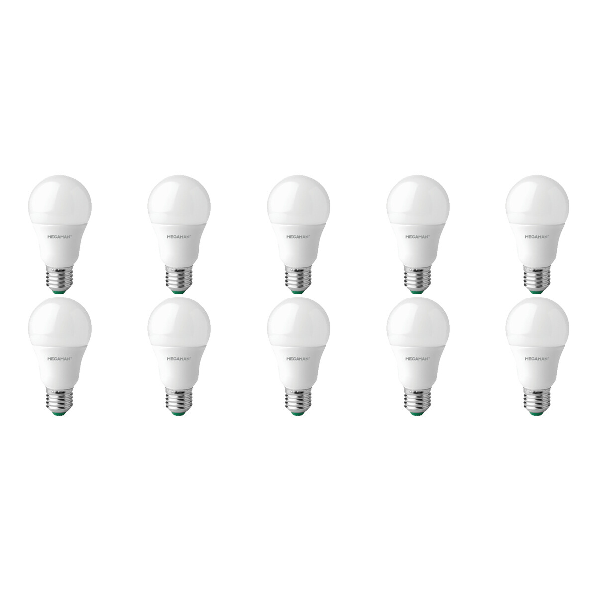 MEGAMAN - LED Lamp 10 Pack - Hatso - A60 - E27 Fitting - Dim to Warm Dimbaar - 6W - Warm Wit 3300K -