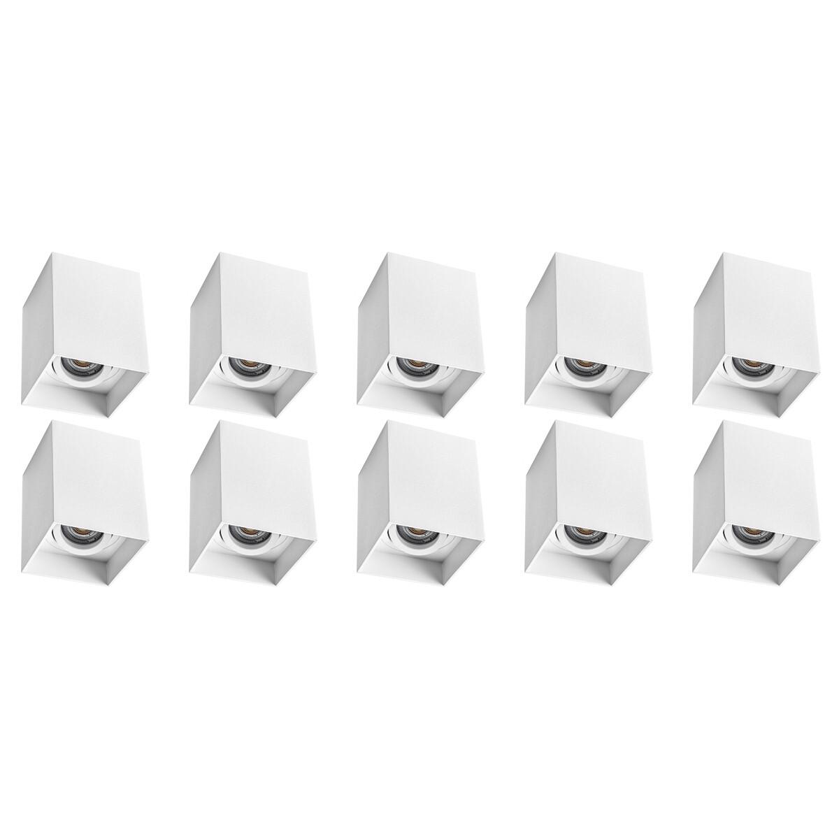 Opbouwspot 10 Pack - Pragmi Luxina Pro - GU10 Fitting - Opbouw Vierkant - Mat Wit - Aluminium - Verd