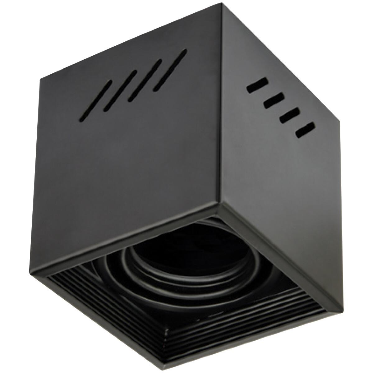 Opbouwspot GU10 - Frino - Opbouw Vierkant - Mat Zwart - Aluminium - Kantelbaar - 92mm