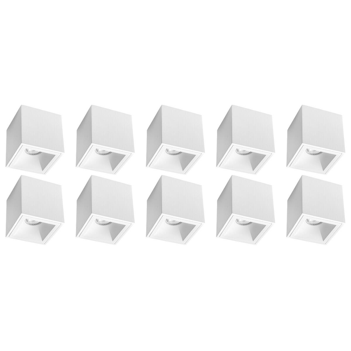 Opbouwspot 10 Pack - Pragmi Cliron Pro - GU10 Fitting - Opbouw Vierkant - Mat Wit - Aluminium - Verd
