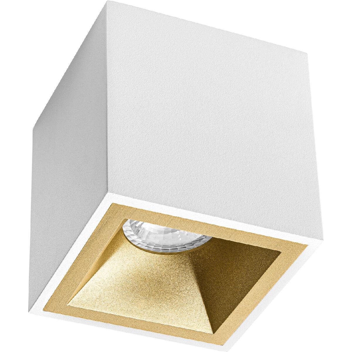 Opbouwspot GU10 - Pragmi Cliron Pro - Opbouw Vierkant - Mat Wit/Goud - Aluminium - Verdiept - 90mm