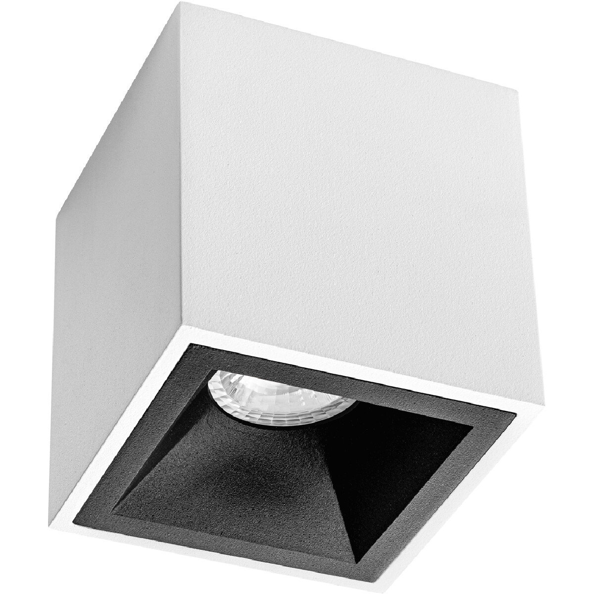 Opbouwspot GU10 - Pragmi Cliron Pro - Opbouw Vierkant - Mat Wit/Zwart - Aluminium - Verdiept - 90mm