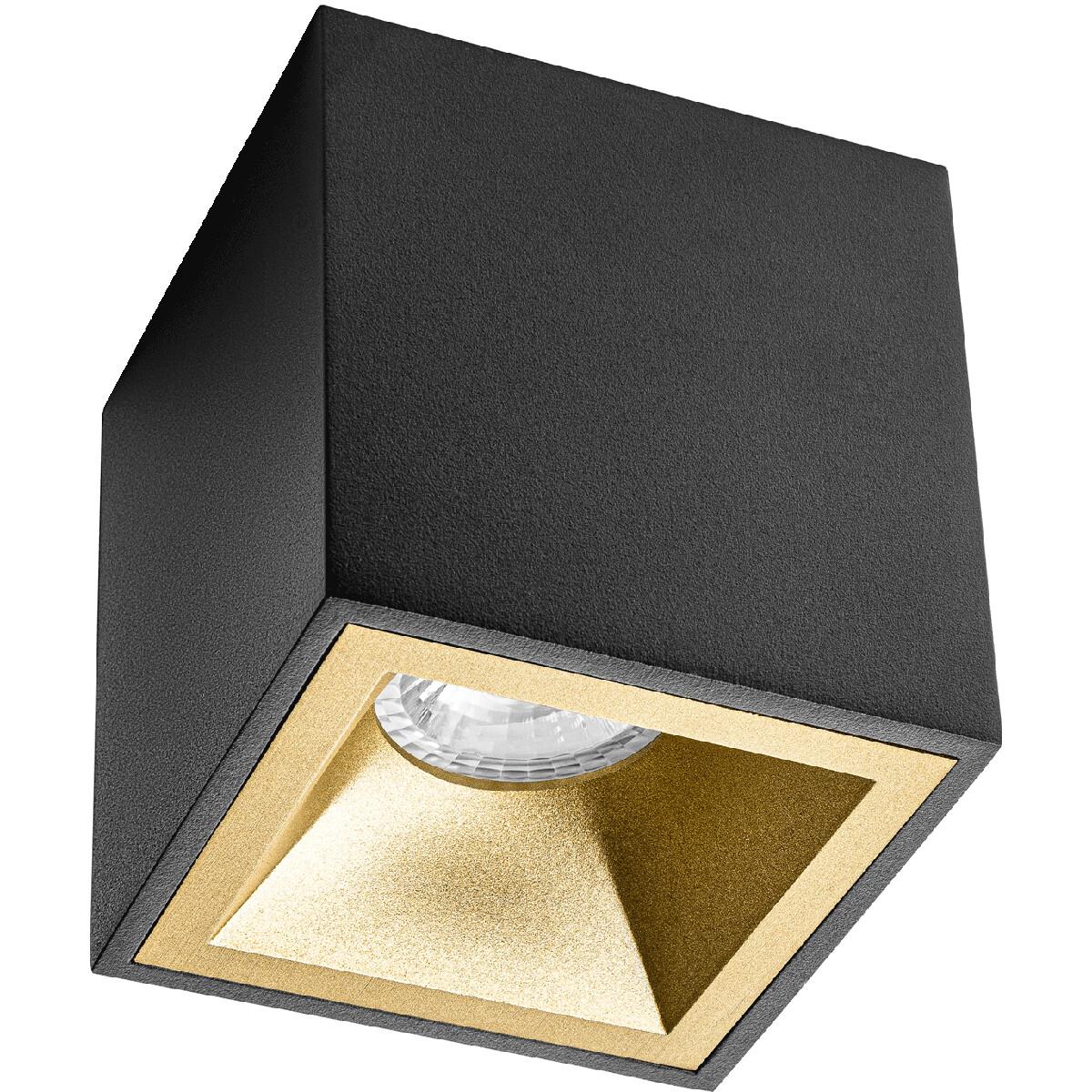 Opbouwspot GU10 - Pragmi Cliron Pro - Opbouw Vierkant - Mat Zwart/Goud - Aluminium - Verdiept - 90mm