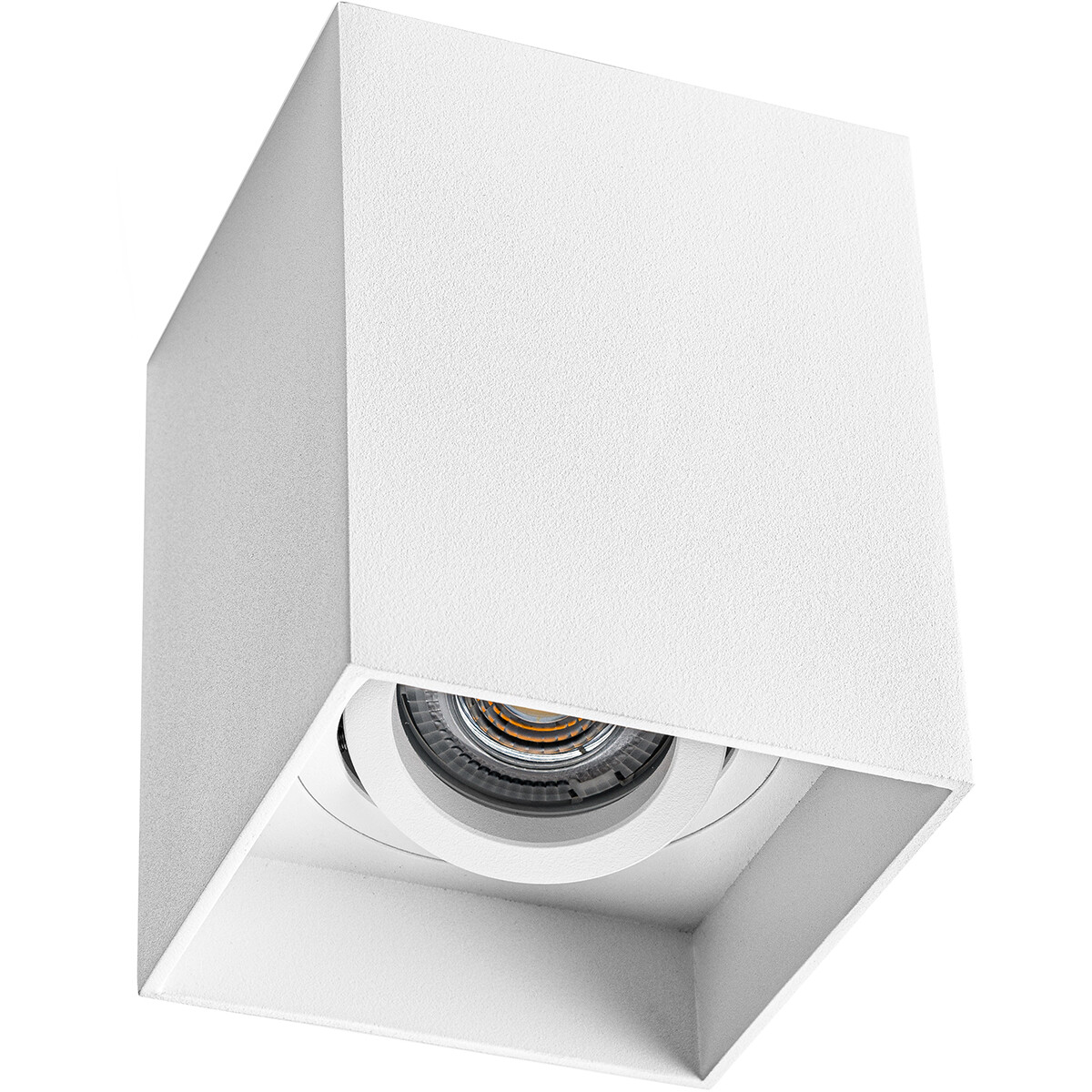 Opbouwspot GU10 - Pragmi Luxina Pro - Opbouw Vierkant - Mat Wit - Aluminium - Verdiept - Kantelbaar