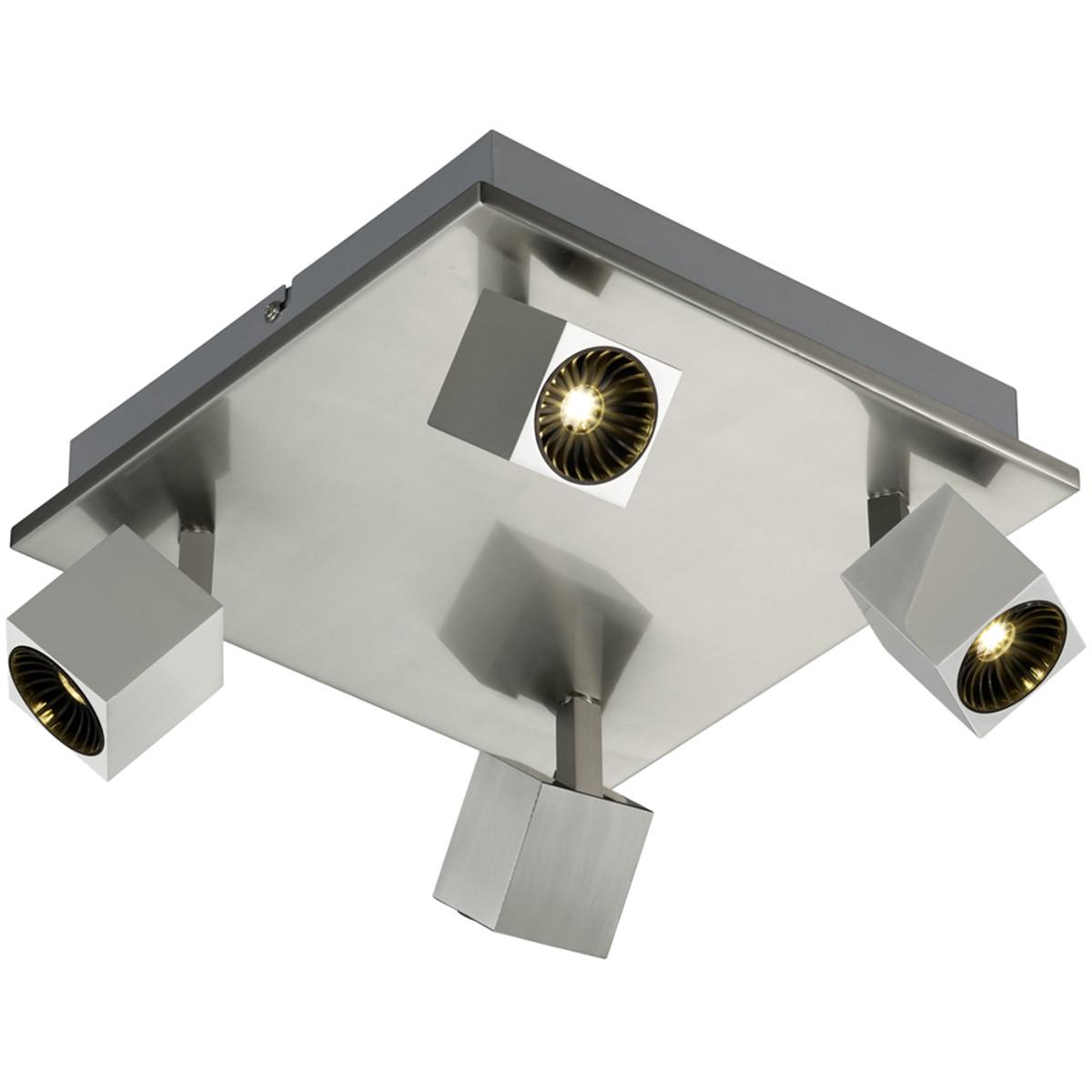 OSRAM - LED Plafondspot - Trion Klipo - 24W - Warm Wit 3000K - 4-lichts - Vierkant - Mat Nikkel - Al