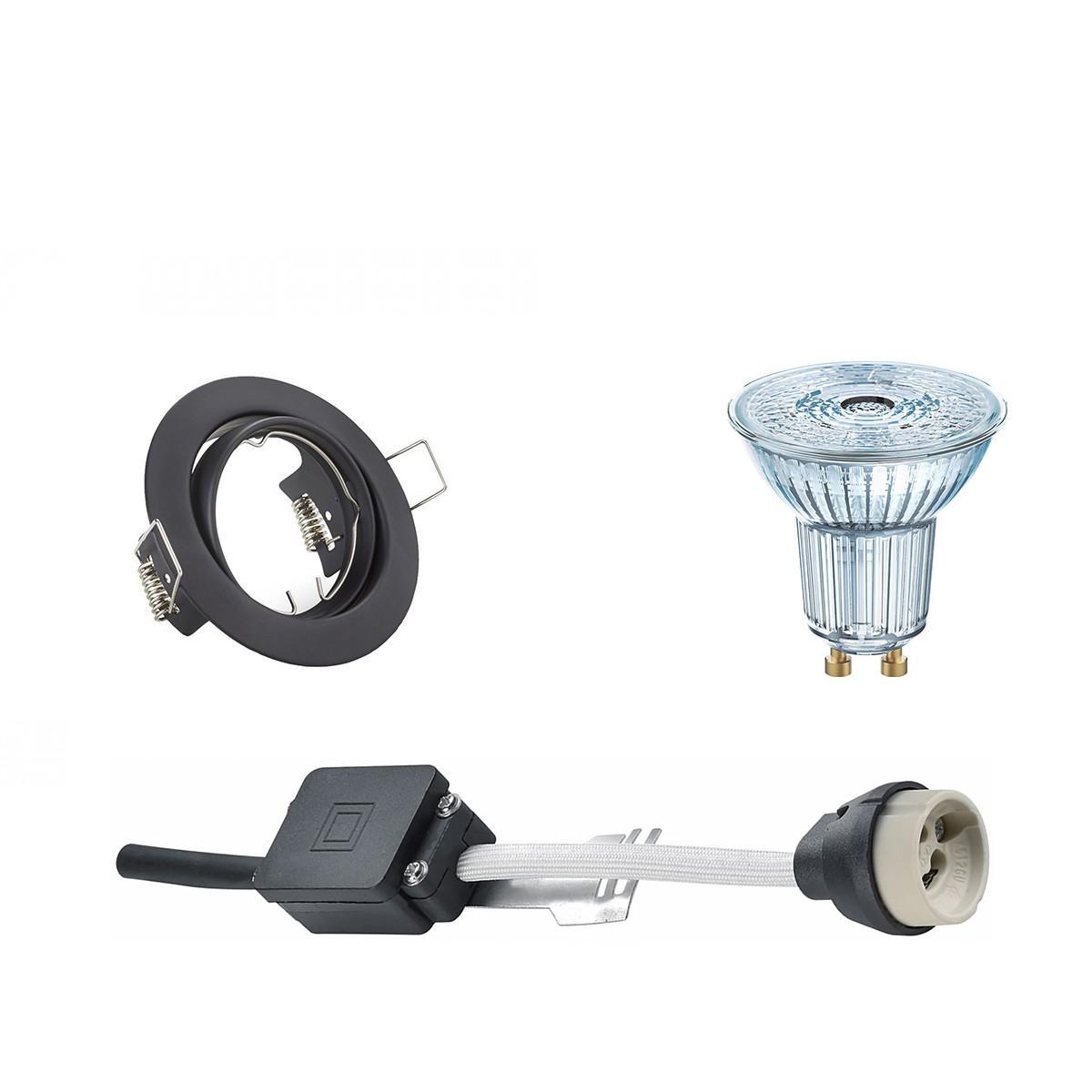 OSRAM - LED Spot Set - Parathom PAR16 927 36D - GU10 Fitting - Dimbaar - Inbouw Rond - Mat Zwart - 5