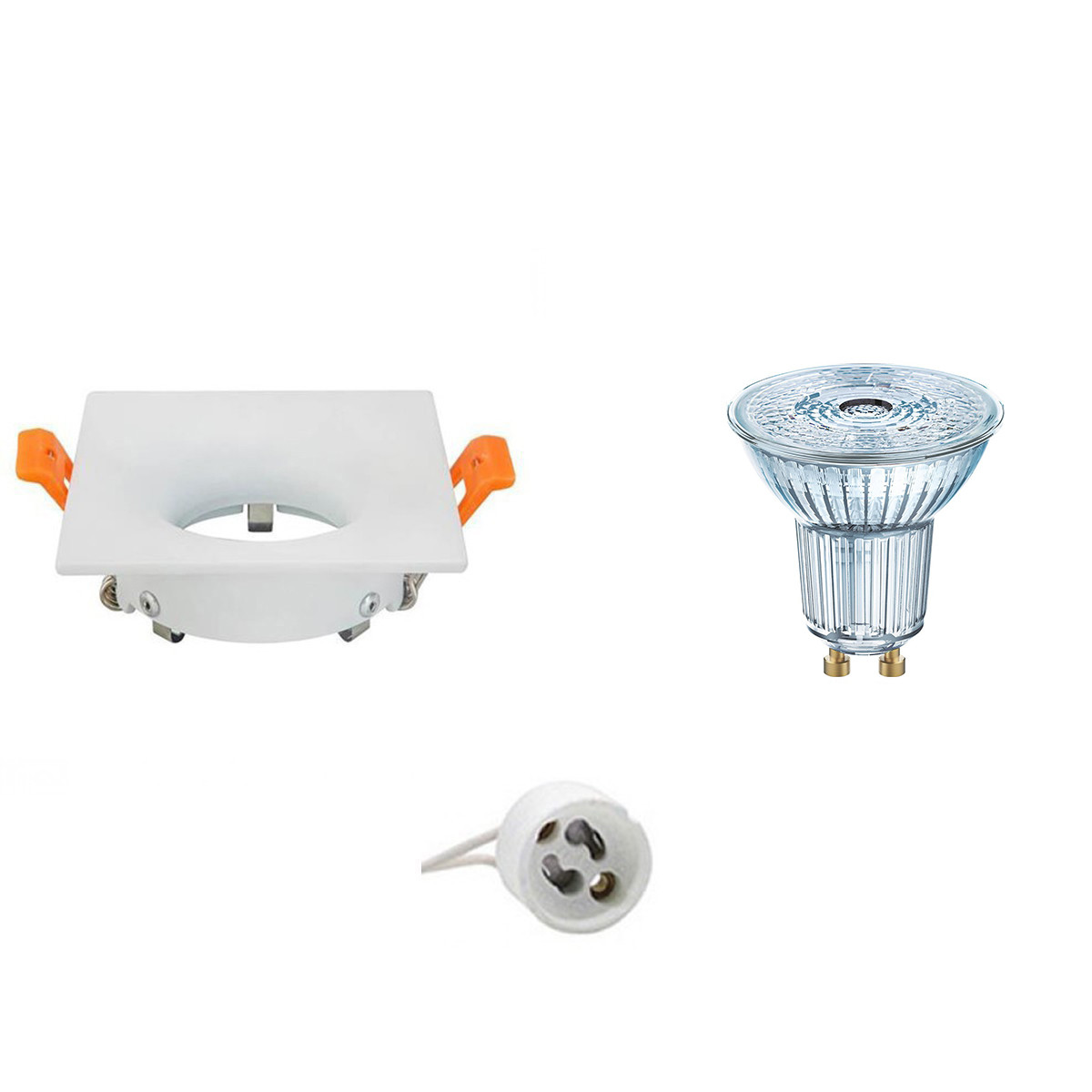 OSRAM - LED Spot Set - Parathom PAR16 927 36D - GU10 Fitting - Dimbaar - Inbouw Vierkant - Mat Wit -