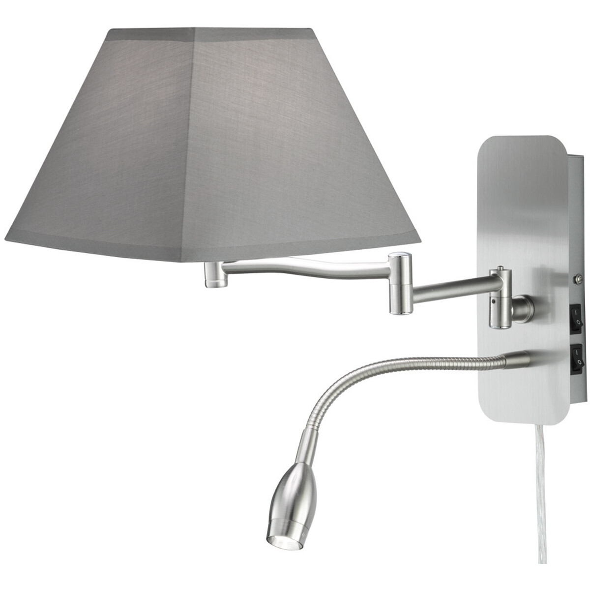 OSRAM - LED Wandlamp - Trion Hotia - E14 Fitting - 3W - Warm Wit 3000K - Vierkant - Mat Grijs - Alum