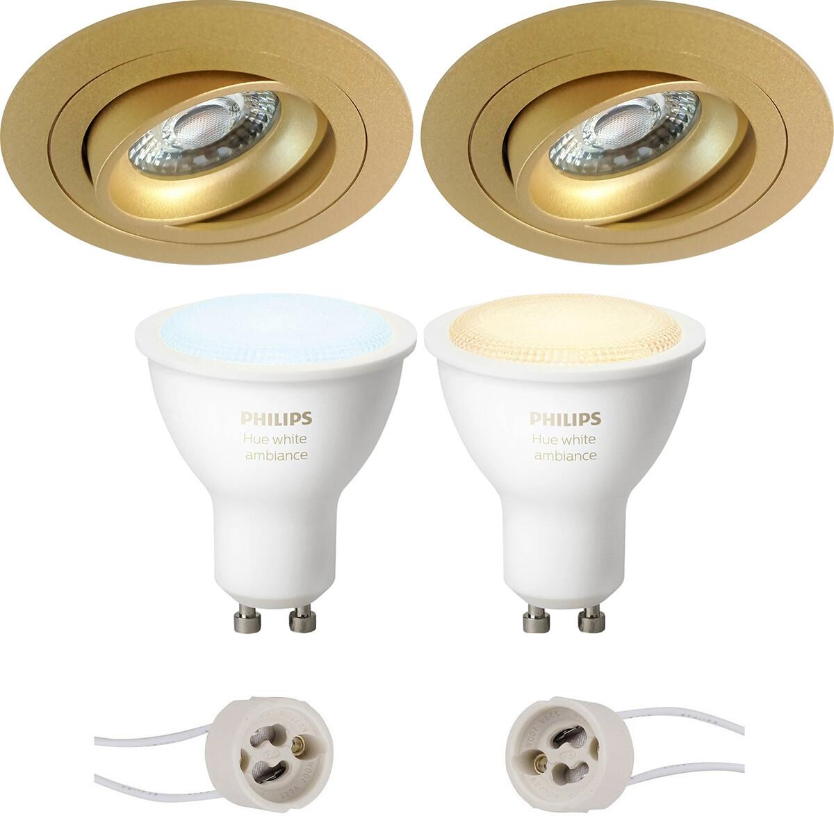 Pragmi Alpin Pro - Inbouw Rond - Mat Goud - Kantelbaar - Ø92mm - Philips Hue - LED Spot Set GU10 - W