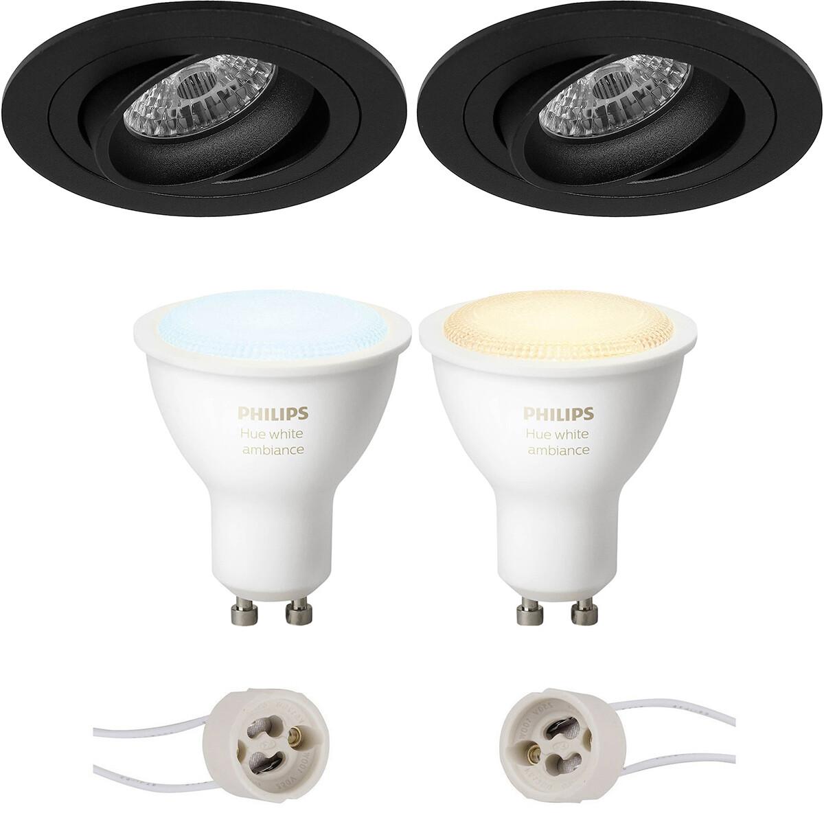 Pragmi Alpin Pro - Inbouw Rond - Mat Zwart - Kantelbaar Ø92mm - Philips Hue - LED Spot Set GU10 - Wh