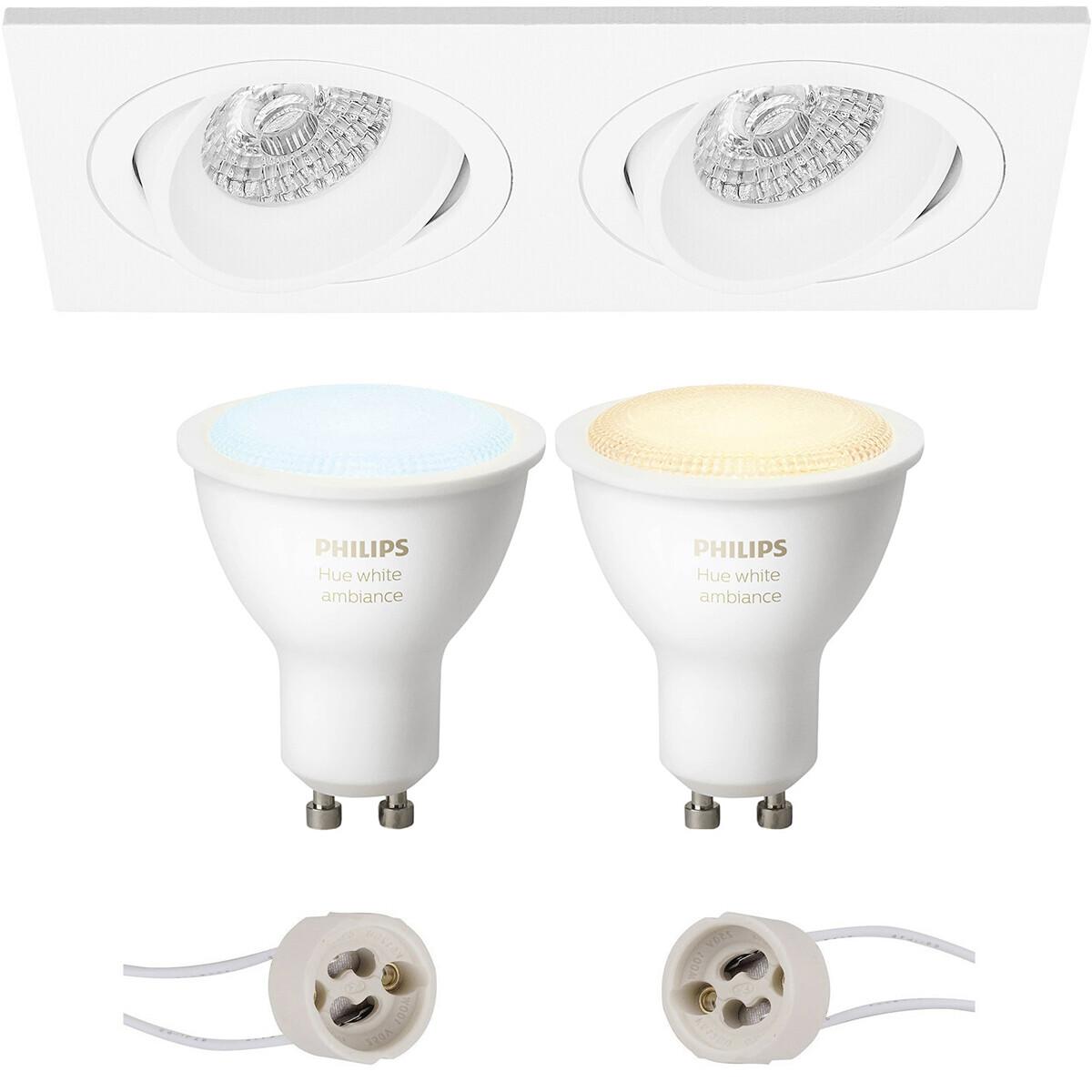 Pragmi Borny Pro - Inbouw Rechthoek Dubbel - Mat Wit - Kantelbaar - 175x92mm - Philips Hue - LED Spo