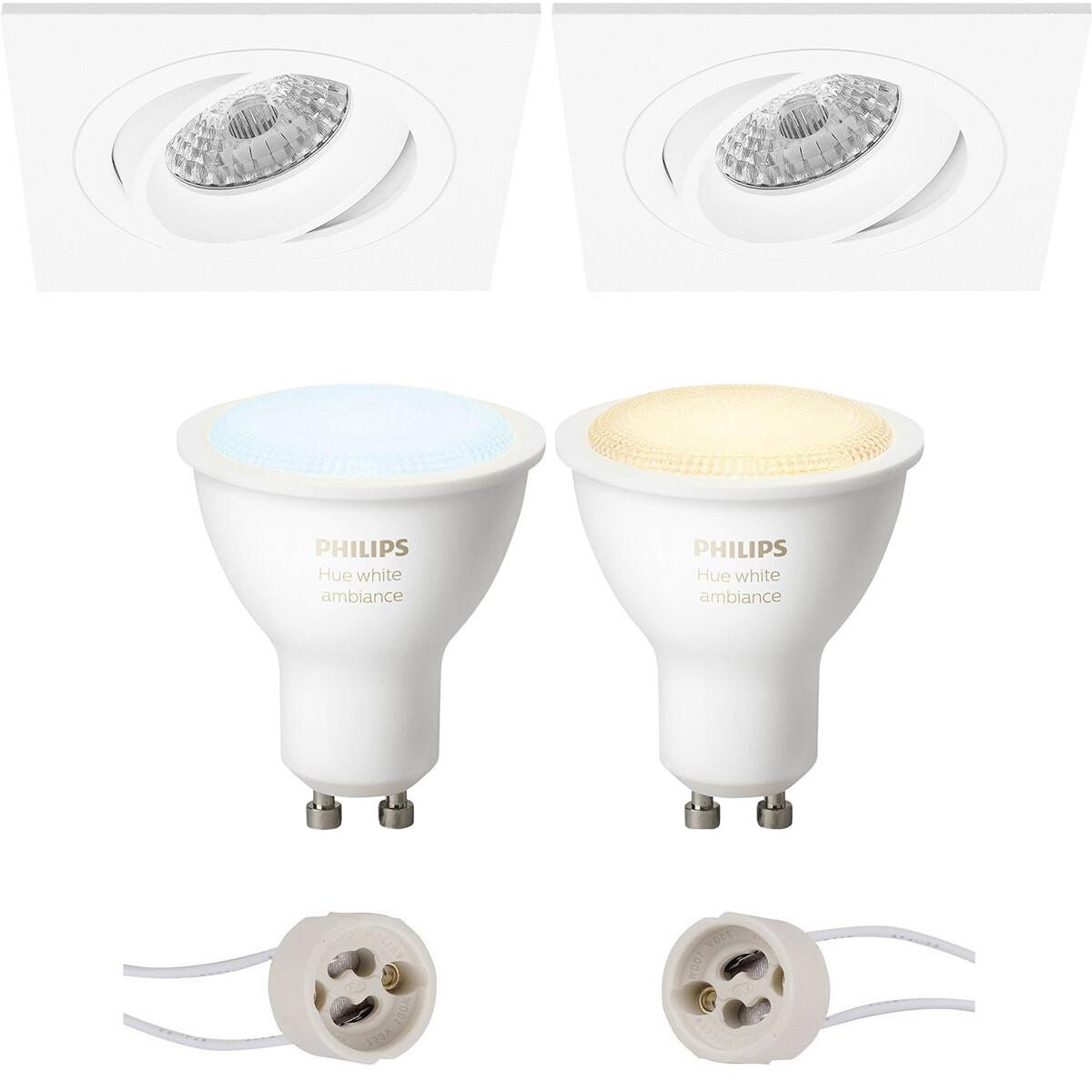 Pragmi Borny Pro - Inbouw Vierkant - Mat Wit - Kantelbaar - 92mm - Philips Hue - LED Spot Set GU10 -