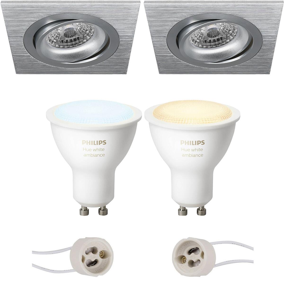 Pragmi Borny Pro - Inbouw Vierkant - Mat Zilver - Kantelbaar - 92mm - Philips Hue - LED Spot Set GU1