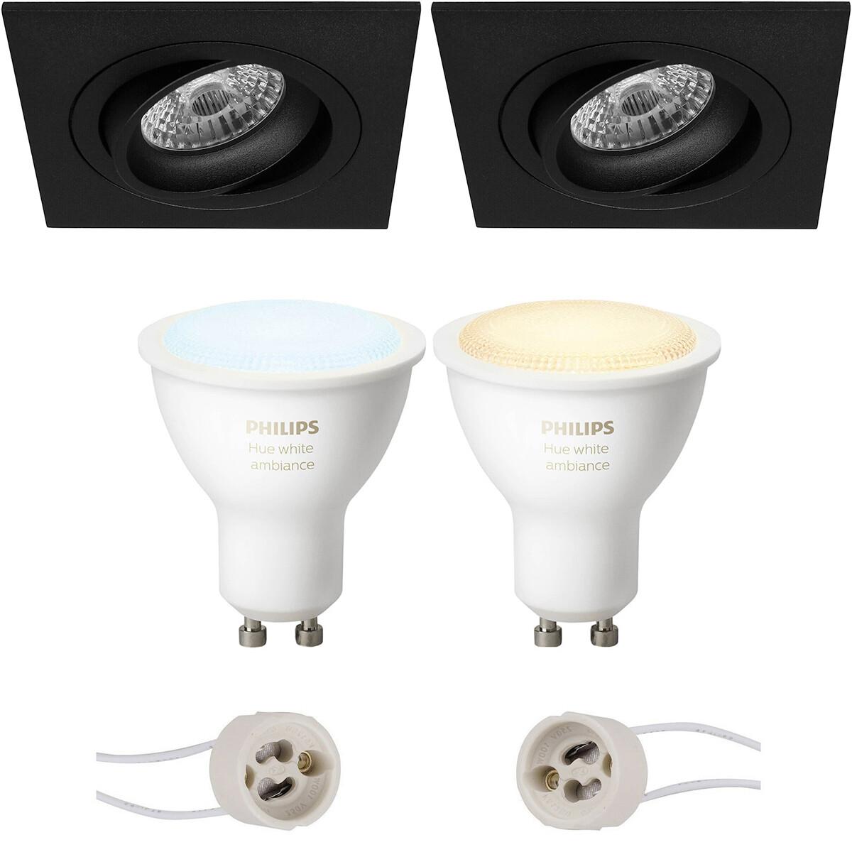Pragmi Borny Pro - Inbouw Vierkant - Mat Zwart - Kantelbaar - 92mm - Philips Hue - LED Spot Set GU10