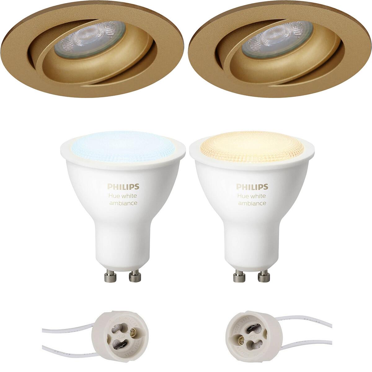 Pragmi Delton Pro - Inbouw Rond - Mat Goud - Kantelbaar - Ø82mm - Philips Hue - LED Spot Set GU10 -
