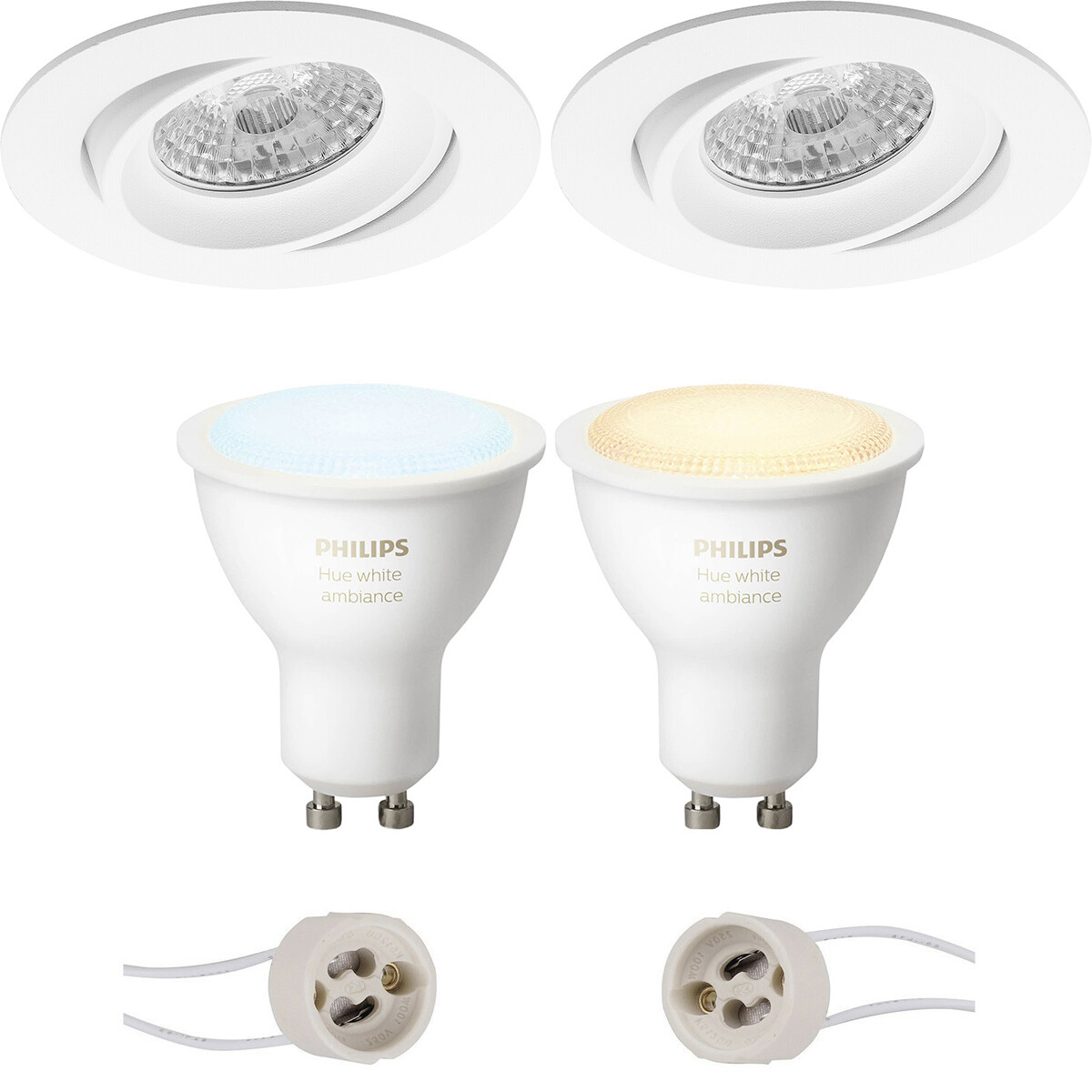 Pragmi Delton Pro - Inbouw Rond - Mat Wit - Kantelbaar - Ø82mm - Philips Hue - LED Spot Set GU10 - W