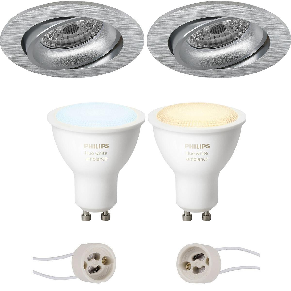 Pragmi Delton Pro - Inbouw Rond - Mat Zilver - Kantelbaar - Ø82mm - Philips Hue - LED Spot Set GU10