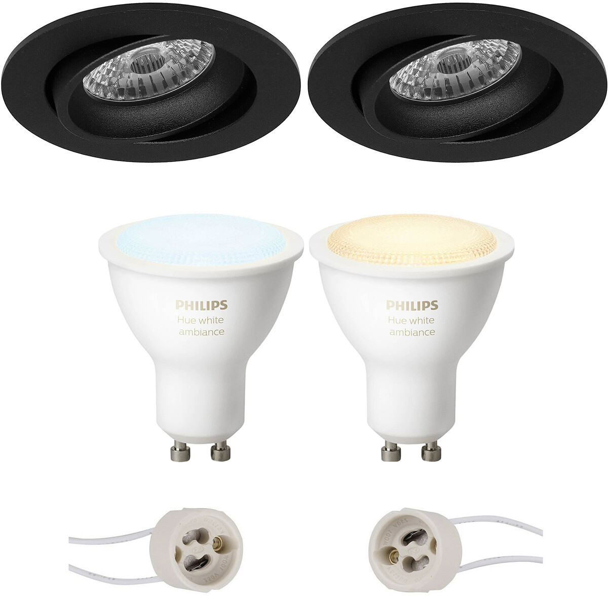 Pragmi Delton Pro - Inbouw Rond - Mat Zwart - Kantelbaar - Ø82mm - Philips Hue - LED Spot Set GU10 -