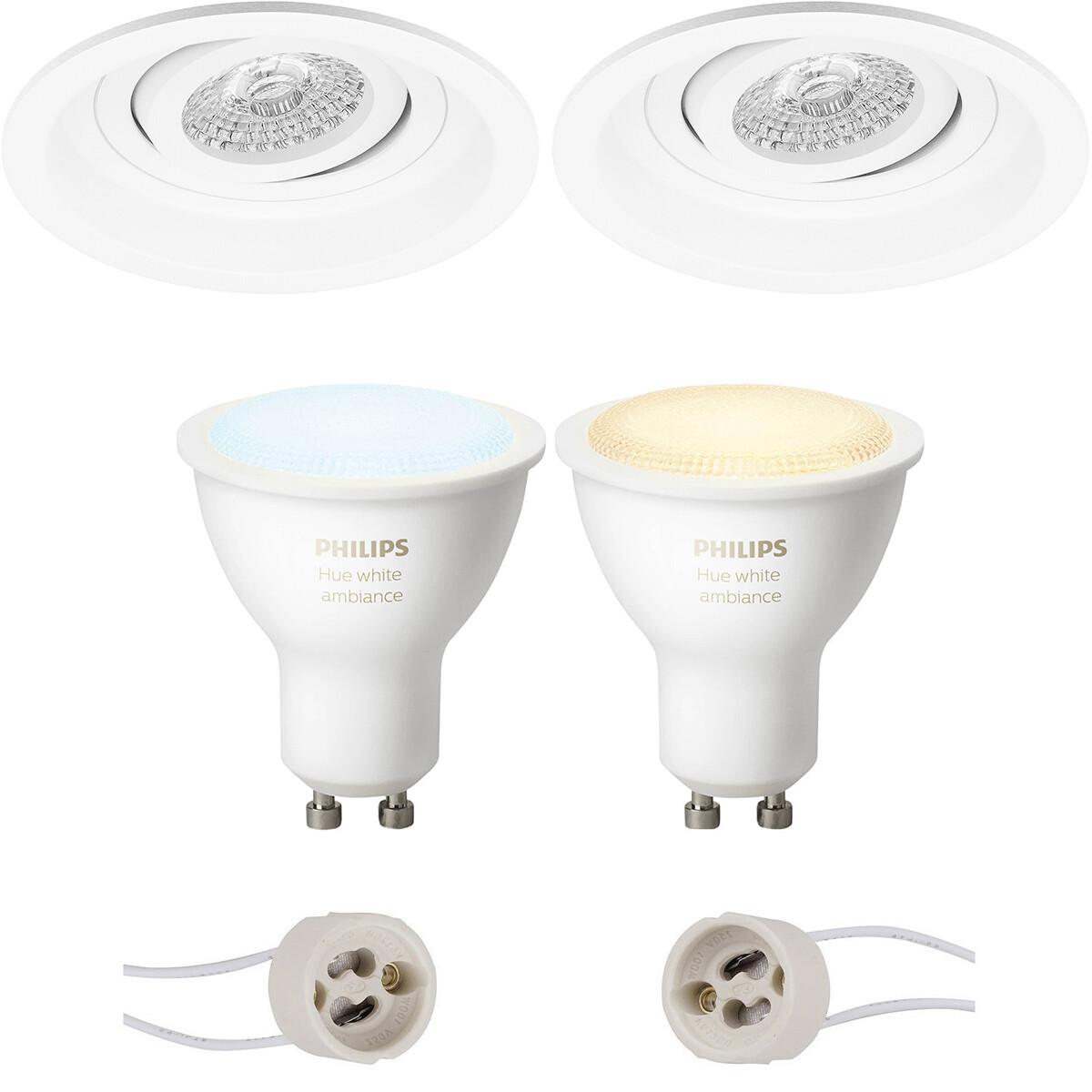 Pragmi Domy Pro - Inbouw Rond - Mat Wit - Verdiept - Kantelbaar - Ø105mm - Philips Hue - LED Spot Se