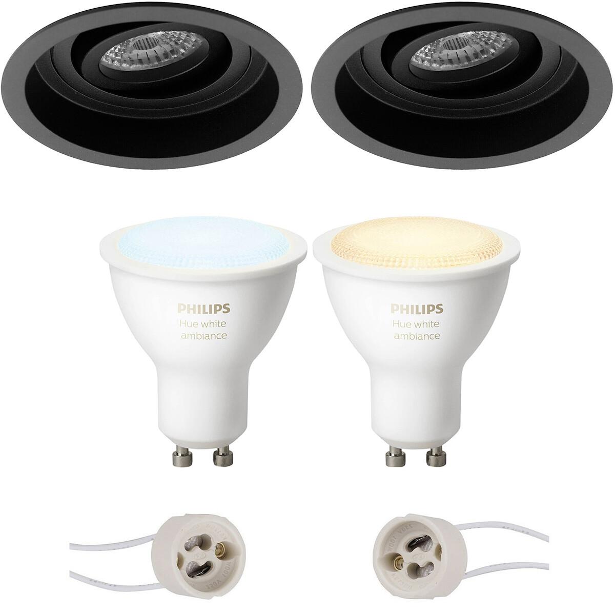 Pragmi Domy Pro - Inbouw Rond - Mat Zwart - Verdiept - Kantelbaar - Ø105mm - Philips Hue - LED Spot