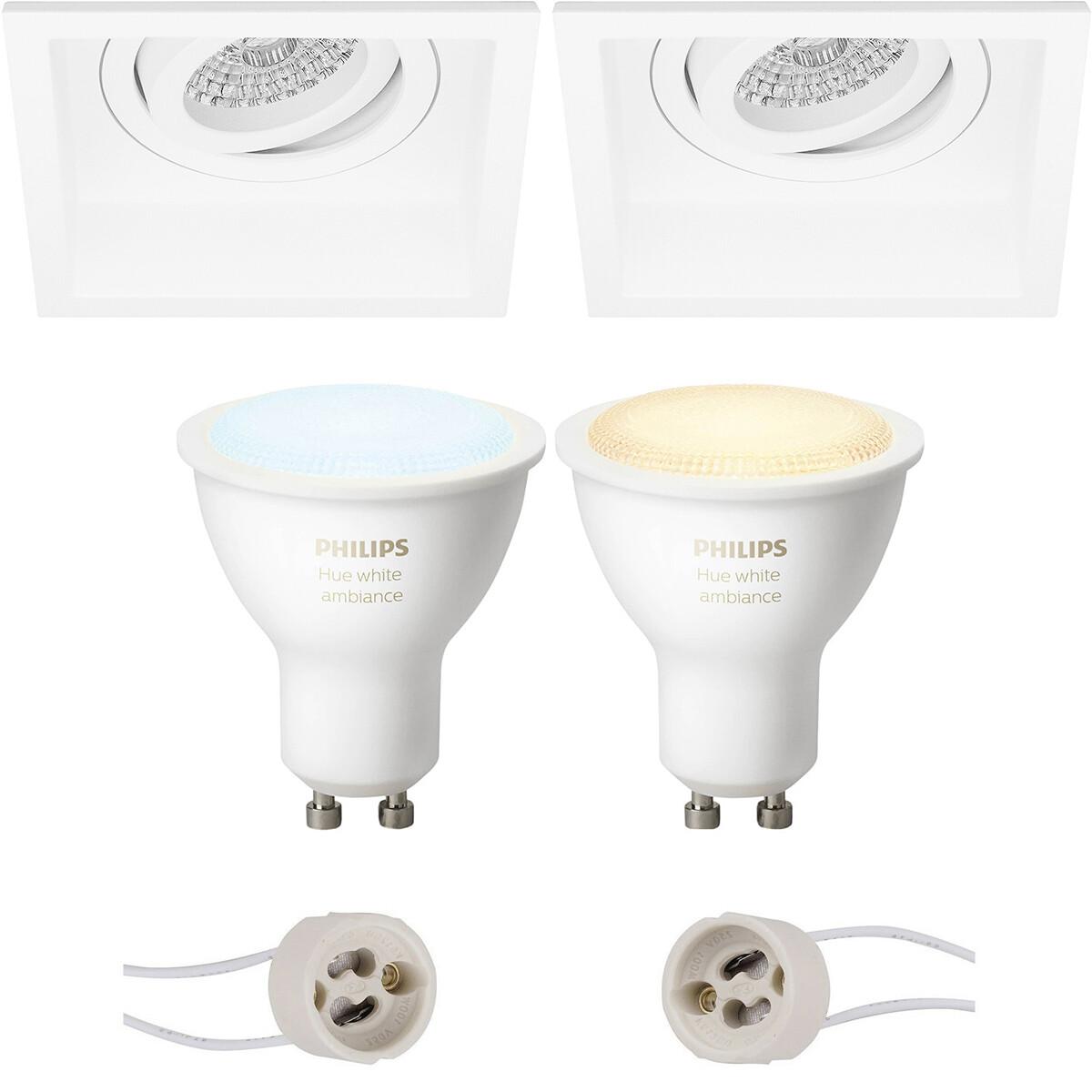 Pragmi Domy Pro - Inbouw Vierkant - Mat Wit - Verdiept - Kantelbaar - 105mm - Philips Hue - LED Spot
