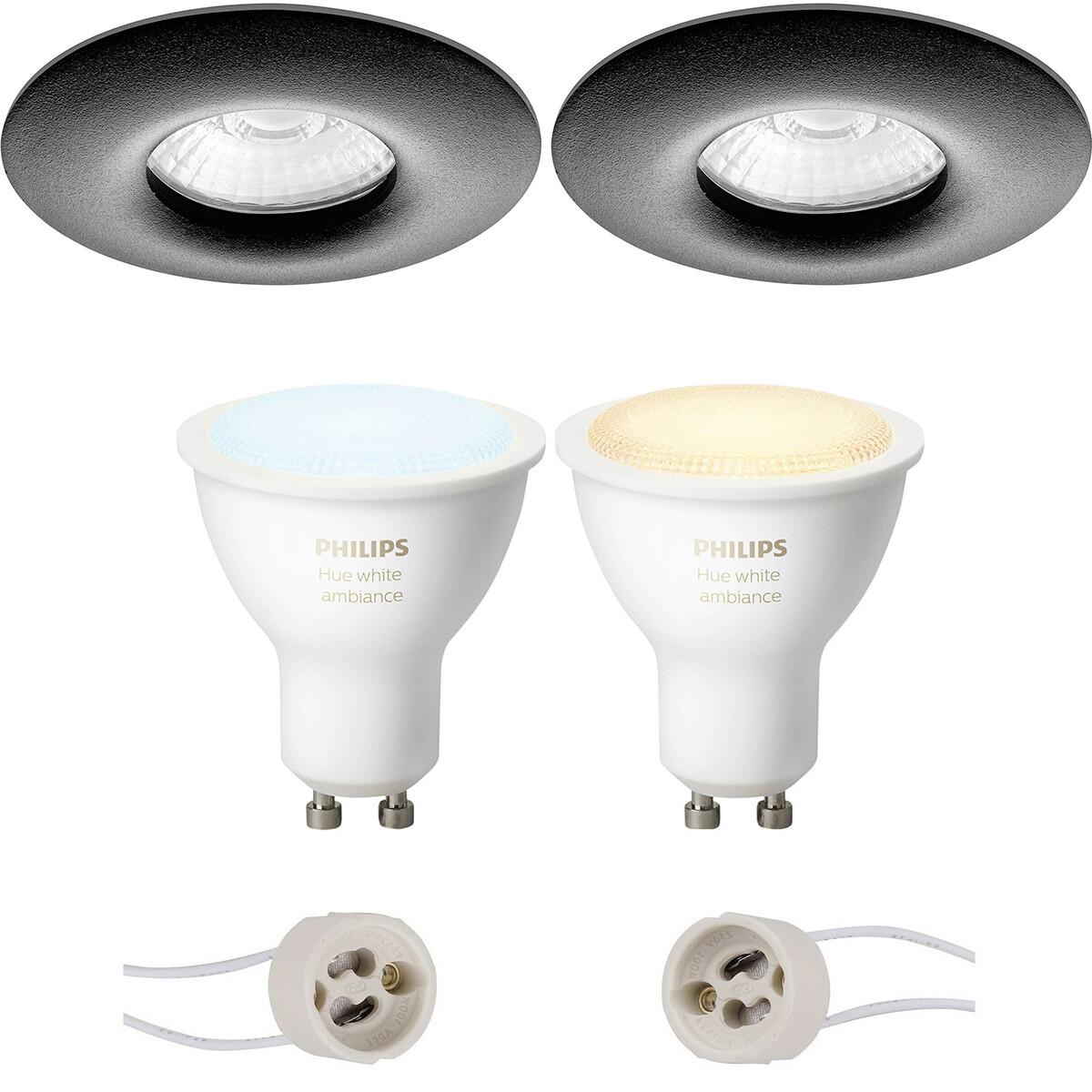 Pragmi Luno Pro - Waterdicht IP65 - Inbouw Rond - Mat Zwart - Ø82mm - Philips Hue - LED Spot Set GU1