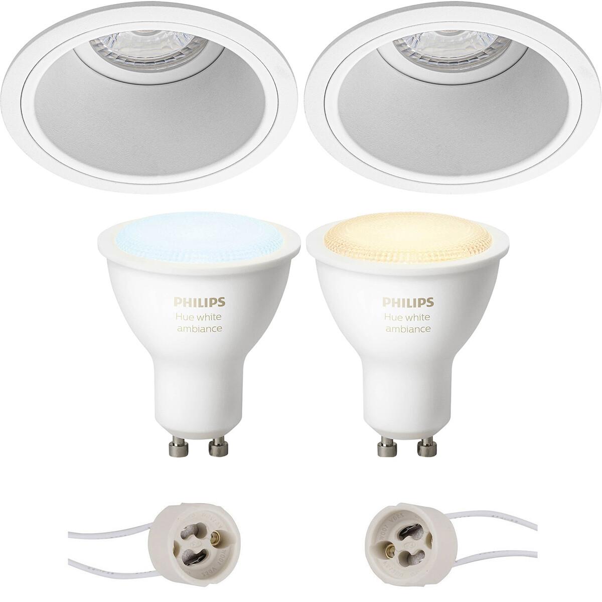 Pragmi Minko Pro - Inbouw Rond - Mat Wit - Verdiept - Ø90mm - Philips Hue - LED Spot Set GU10 - Whit
