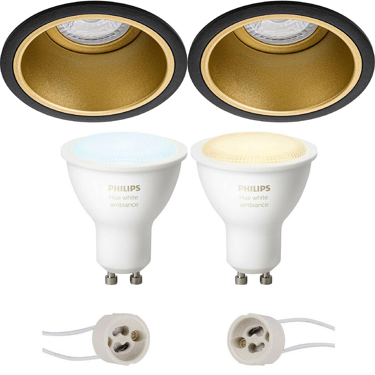 Pragmi Minko Pro - Inbouw Rond - Mat Zwart/Goud - Verdiept - Ø90mm - Philips Hue - LED Spot Set GU10