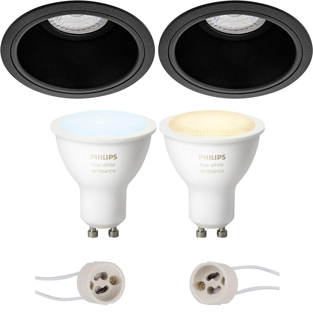 Pragmi Minko Pro - Inbouw Rond - Mat Zwart - Verdiept - Ø90mm - Philips Hue - LED Spot Set GU10 - Wh