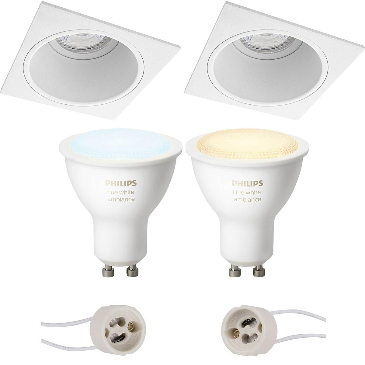 Pragmi Minko Pro - Inbouw Vierkant - Mat Wit - Verdiept - 90mm - Philips Hue - LED Spot Set GU10 - W