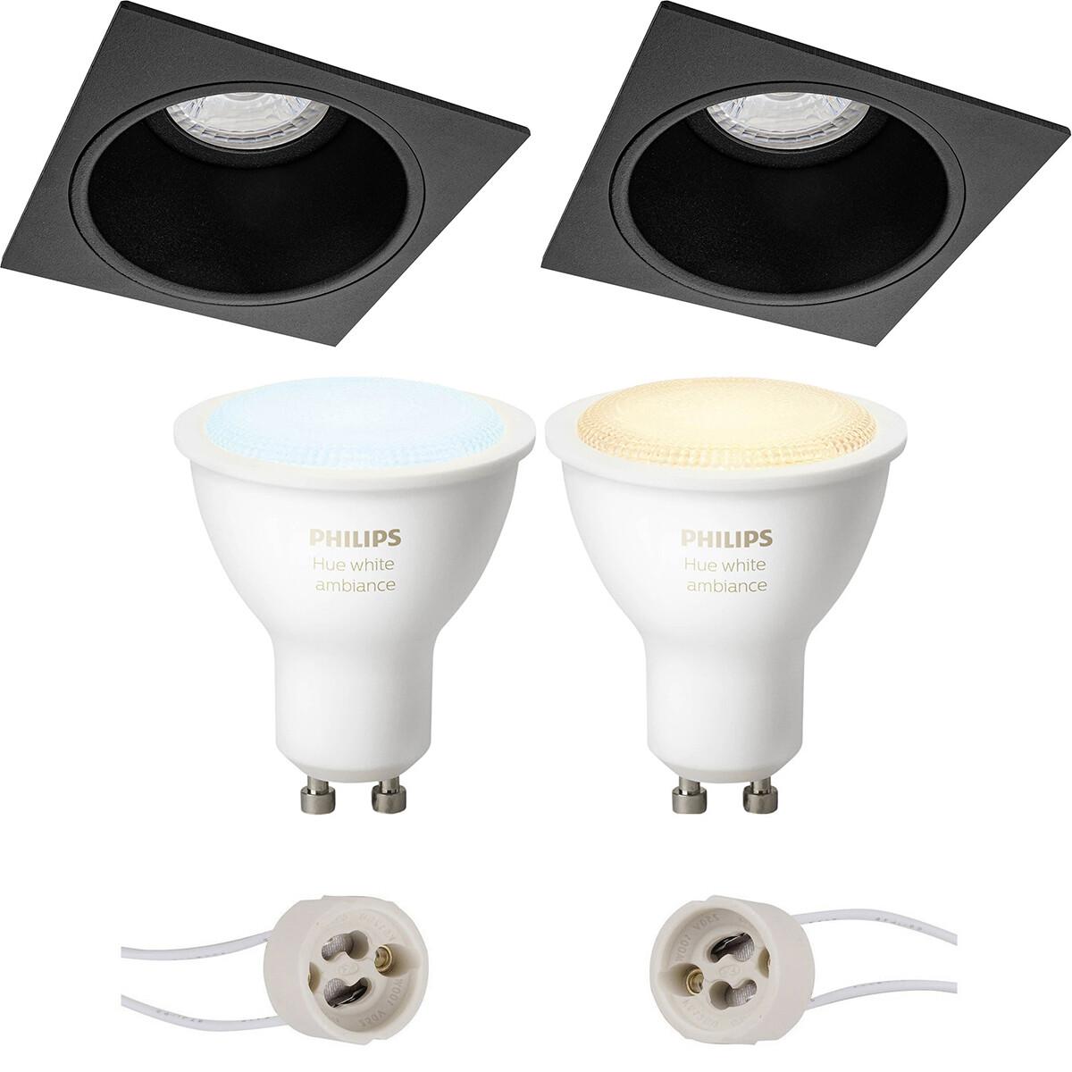 Pragmi Minko Pro - Inbouw Vierkant - Mat Zwart - Verdiept - 90mm - Philips Hue - LED Spot Set GU10 -