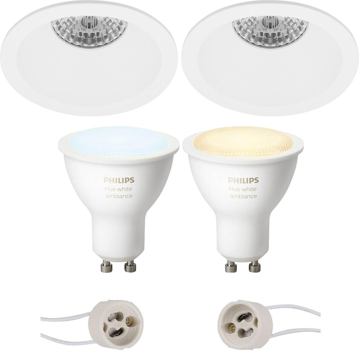 Pragmi Pollon Pro - Inbouw Rond - Mat Wit - Verdiept - Ø82mm - Philips Hue - LED Spot Set GU10 - Whi