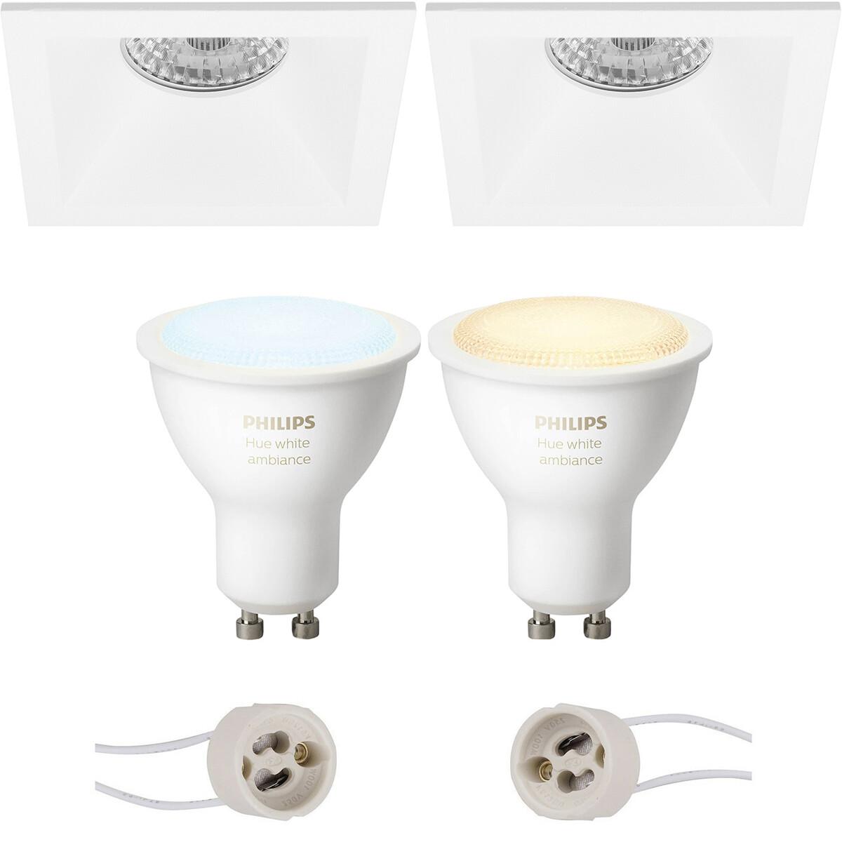 Pragmi Pollon Pro - Inbouw Vierkant - Mat Wit - Verdiept - 82mm - Philips Hue - LED Spot Set GU10 -
