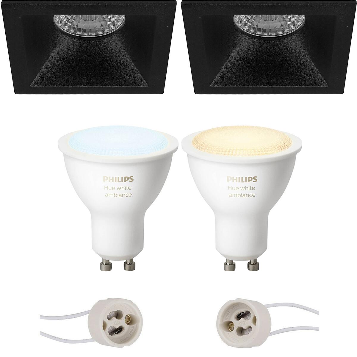 Pragmi Pollon Pro - Inbouw Vierkant - Mat Zwart - Verdiept - 82mm - Philips Hue - LED Spot Set GU10