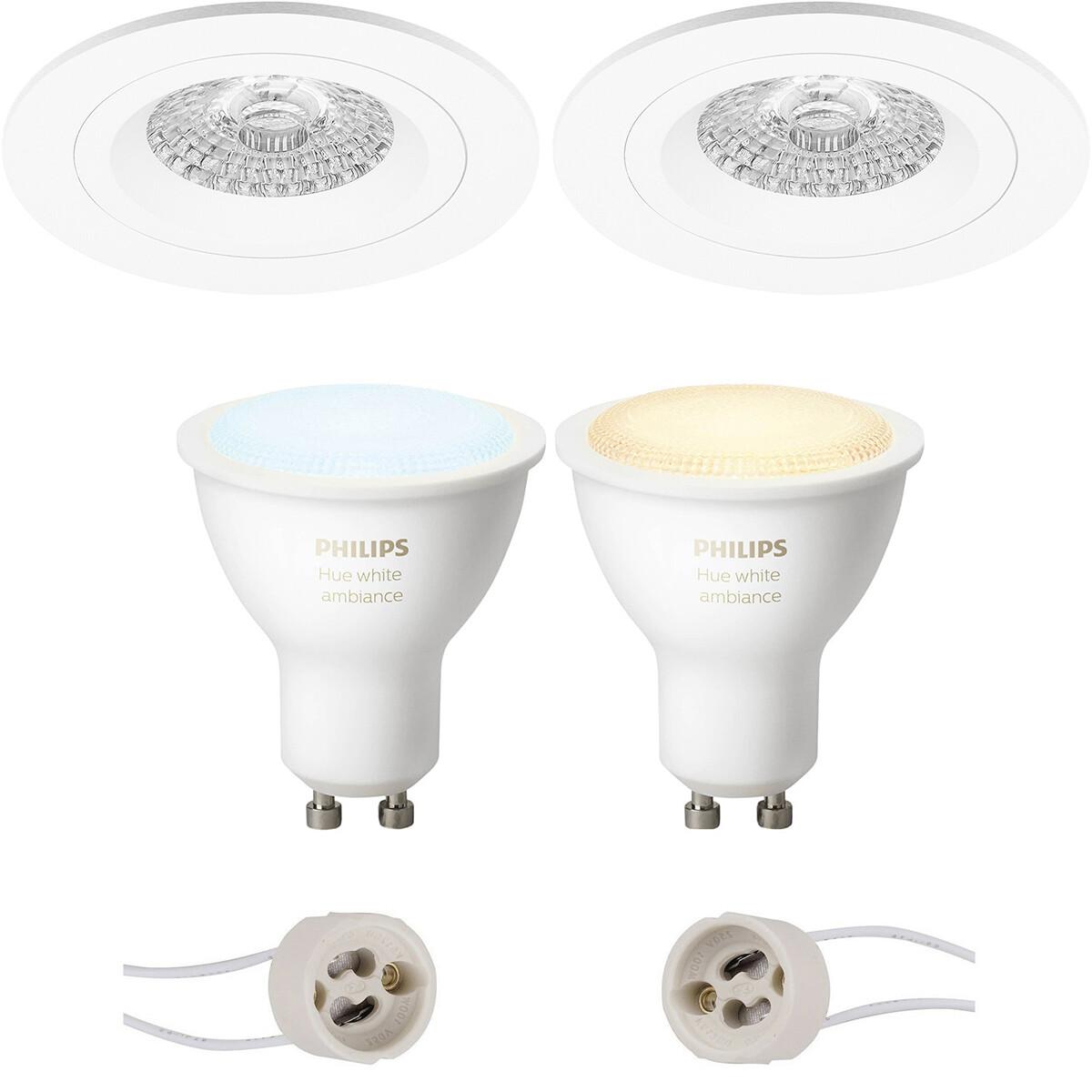 Pragmi Rodos Pro - Inbouw Rond - Mat Wit - Ø93mm - Philips Hue - LED Spot Set GU10 - White Ambiance