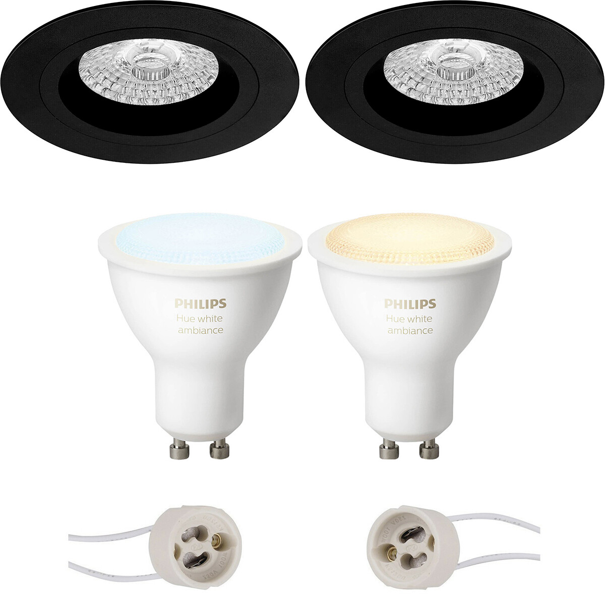 Pragmi Rodos Pro - Inbouw Rond - Mat Zwart - Ø93mm - Philips Hue - LED Spot Set GU10 - White Ambianc