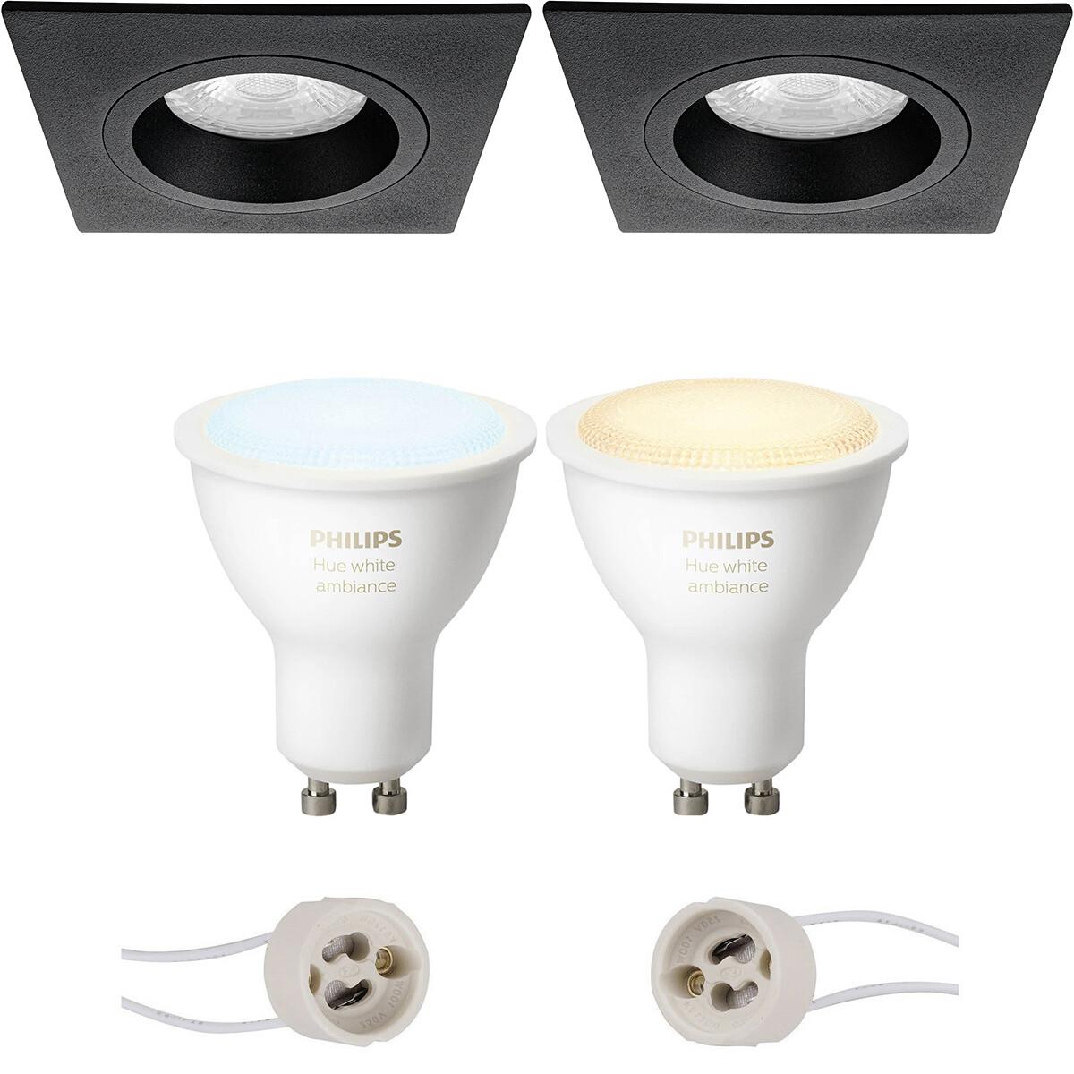 Pragmi Rodos Pro - Inbouw Vierkant - Mat Zwart - 93mm - Philips Hue - LED Spot Set GU10 - White Ambi