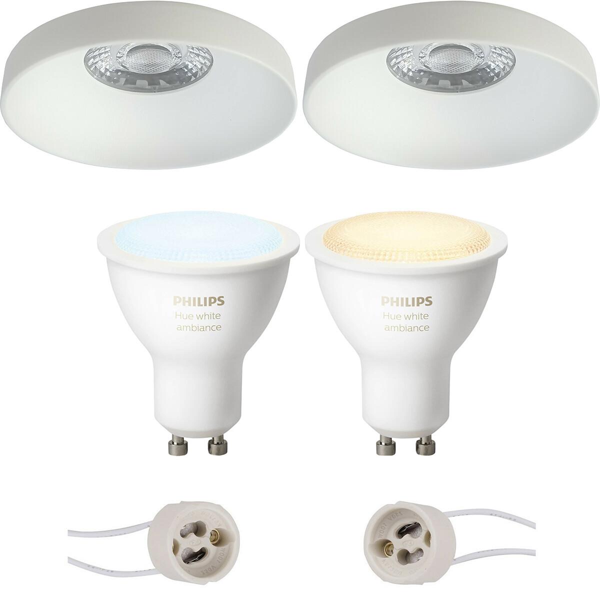 Pragmi Vrito Pro - Inbouw Rond - Mat Wit - Ø82mm - Philips Hue - LED Spot Set GU10 - White Ambiance