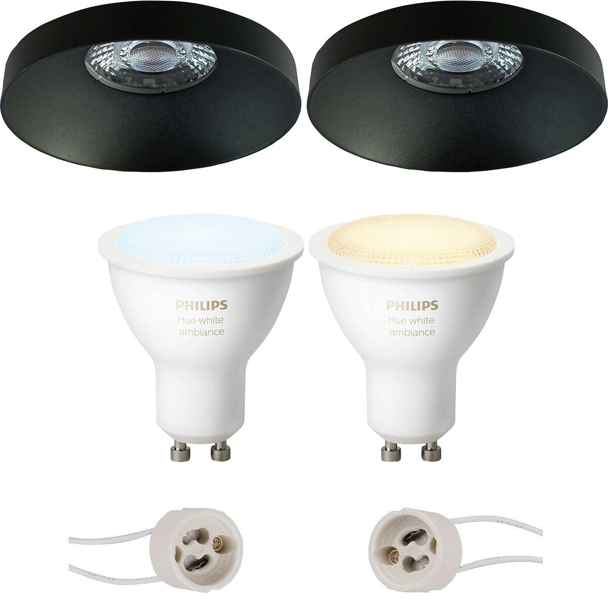 Pragmi Vrito Pro - Inbouw Rond - Mat Zwart - Ø82mm - Philips Hue - LED Spot Set GU10 - White Ambianc