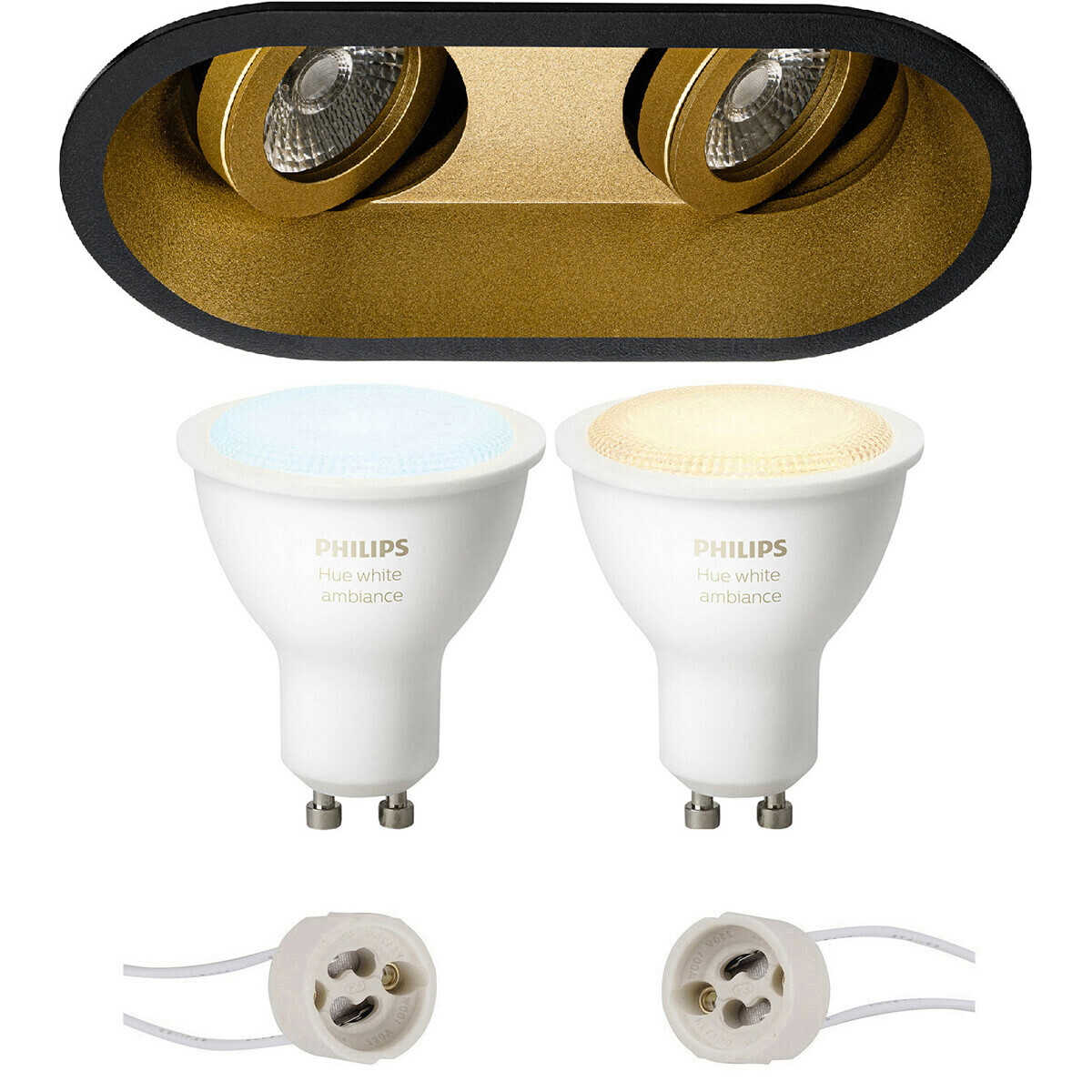Pragmi Zano Pro - Inbouw Ovaal Dubbel - Mat Zwart/Goud - Kantelbaar - 185x93mm - Philips Hue - LED S