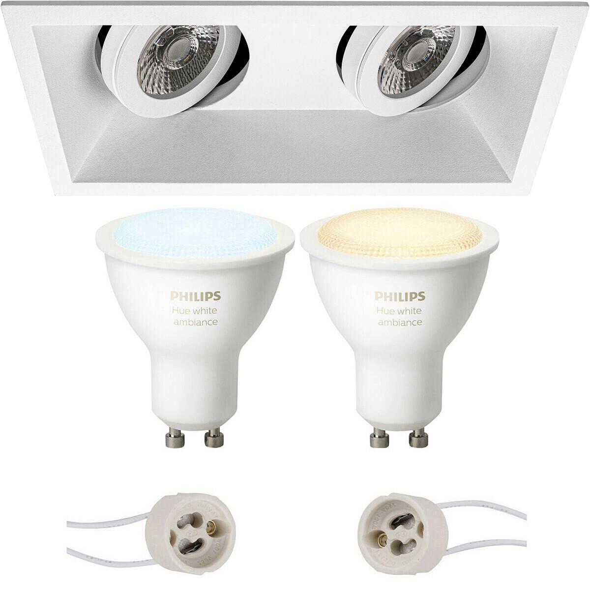 Pragmi Zano Pro - Inbouw Rechthoek Dubbel - Mat Wit - Kantelbaar - 185x93mm - Philips Hue - LED Spot