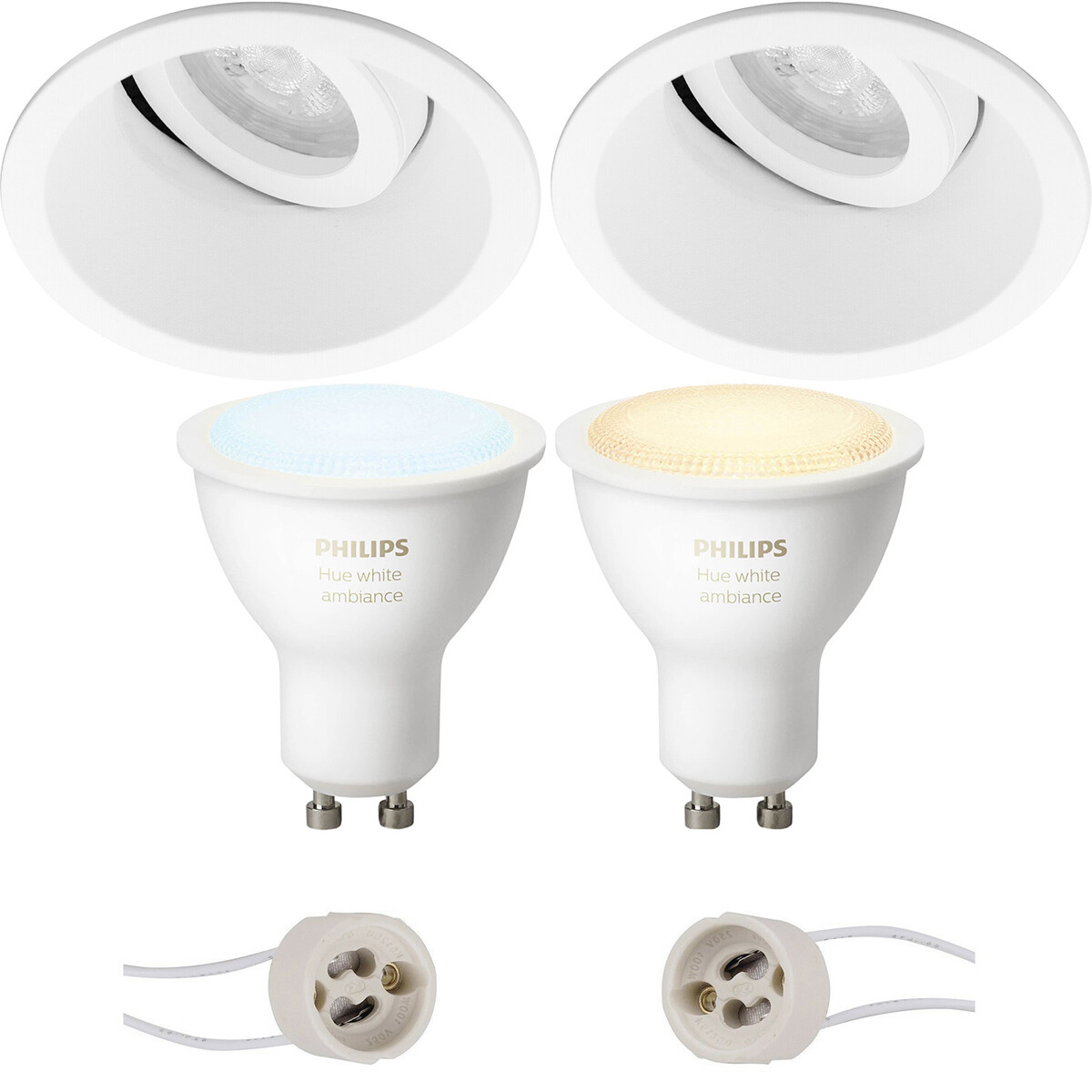 Pragmi Zano Pro - Inbouw Rond - Mat Wit - Kantelbaar - Ø93mm - Philips Hue - LED Spot Set GU10 - Whi
