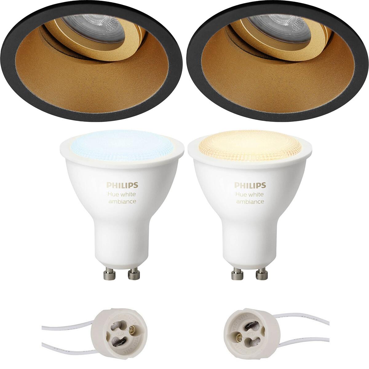Pragmi Zano Pro - Inbouw Rond - Mat Zwart/Goud - Kantelbaar - Ø93mm - Philips Hue - LED Spot Set GU1