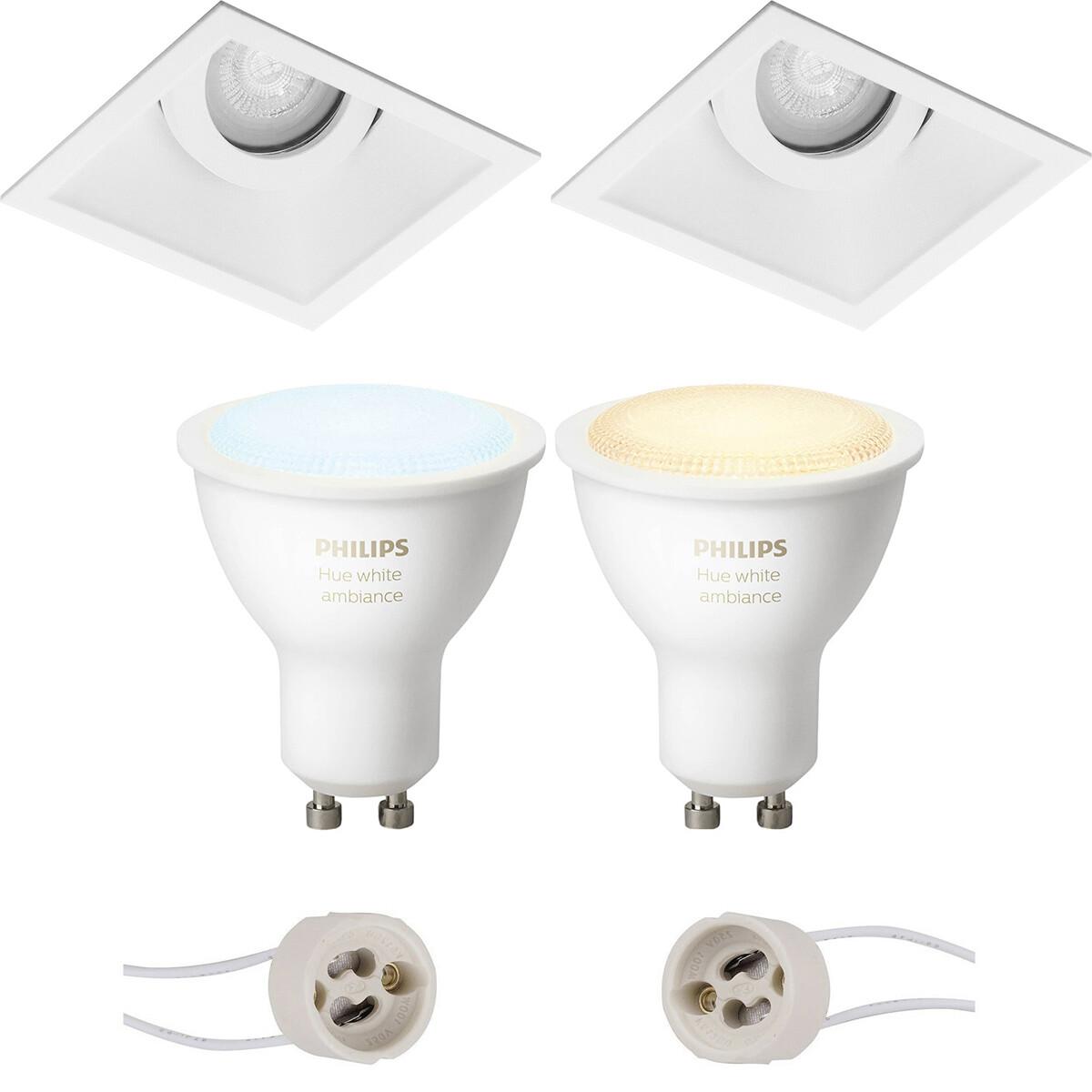 Pragmi Zano Pro - Inbouw Vierkant - Mat Wit - Kantelbaar - 93mm - Philips Hue - LED Spot Set GU10 -
