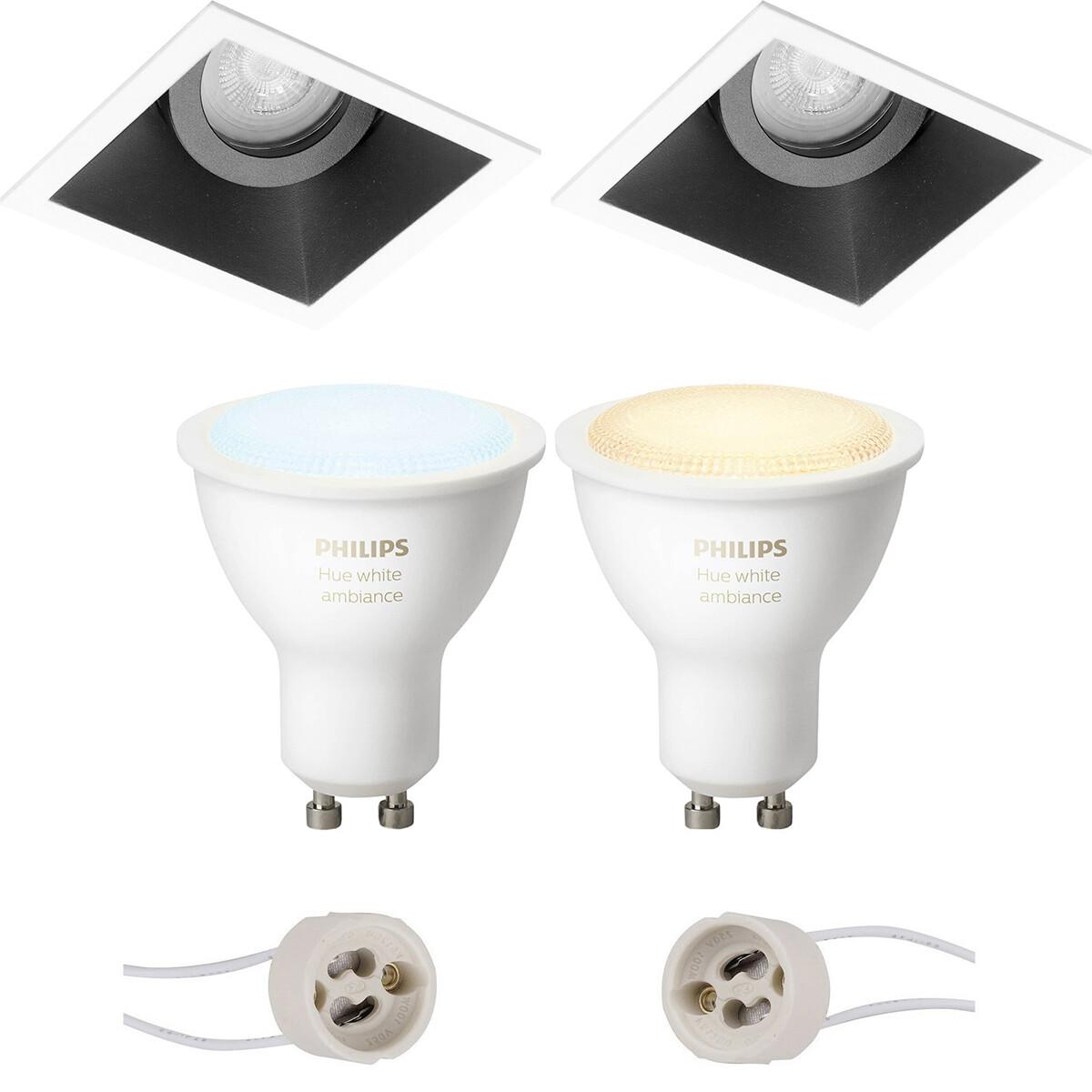 Pragmi Zano Pro - Inbouw Vierkant - Mat Zwart/Wit - Kantelbaar - 93mm - Philips Hue - LED Spot Set G