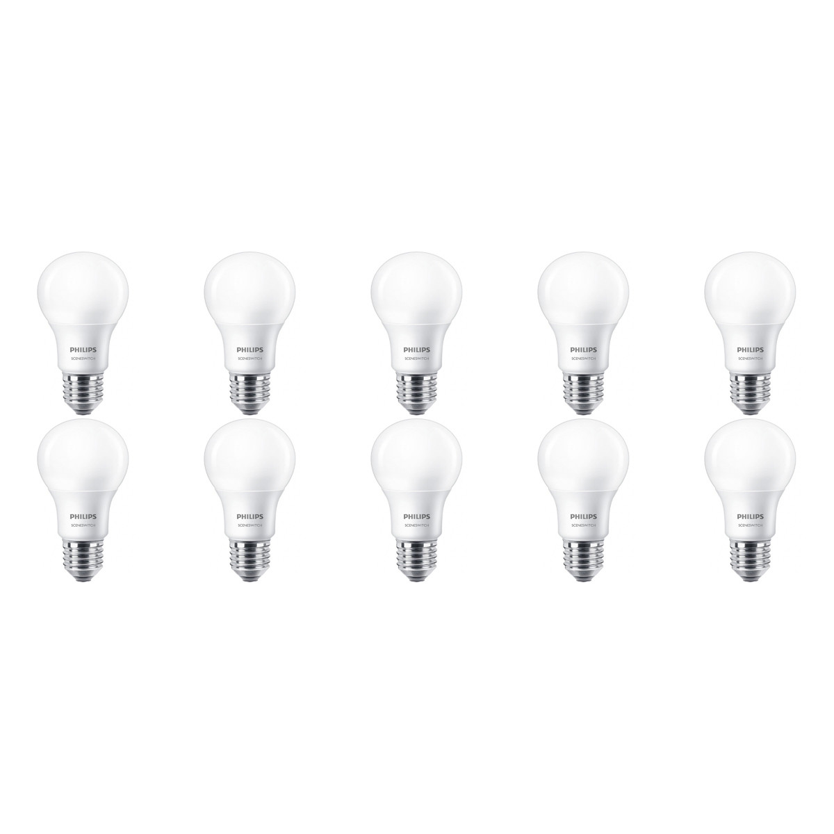 PHILIPS - LED Lamp 10 Pack - SceneSwitch 827 A60 - E27 Fitting - Dimbaar - 2W-8W