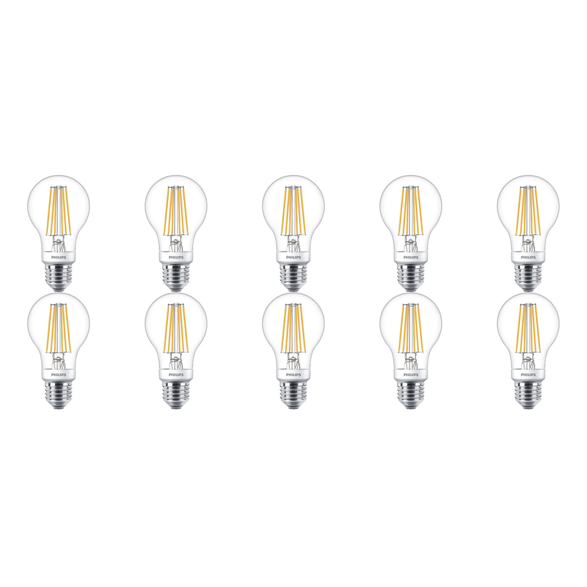 PHILIPS - LED Lamp 10 Pack - SceneSwitch Filament 827 A60 - E27 Fitting - Dimbaar - 1.6W-7.5W - Warm