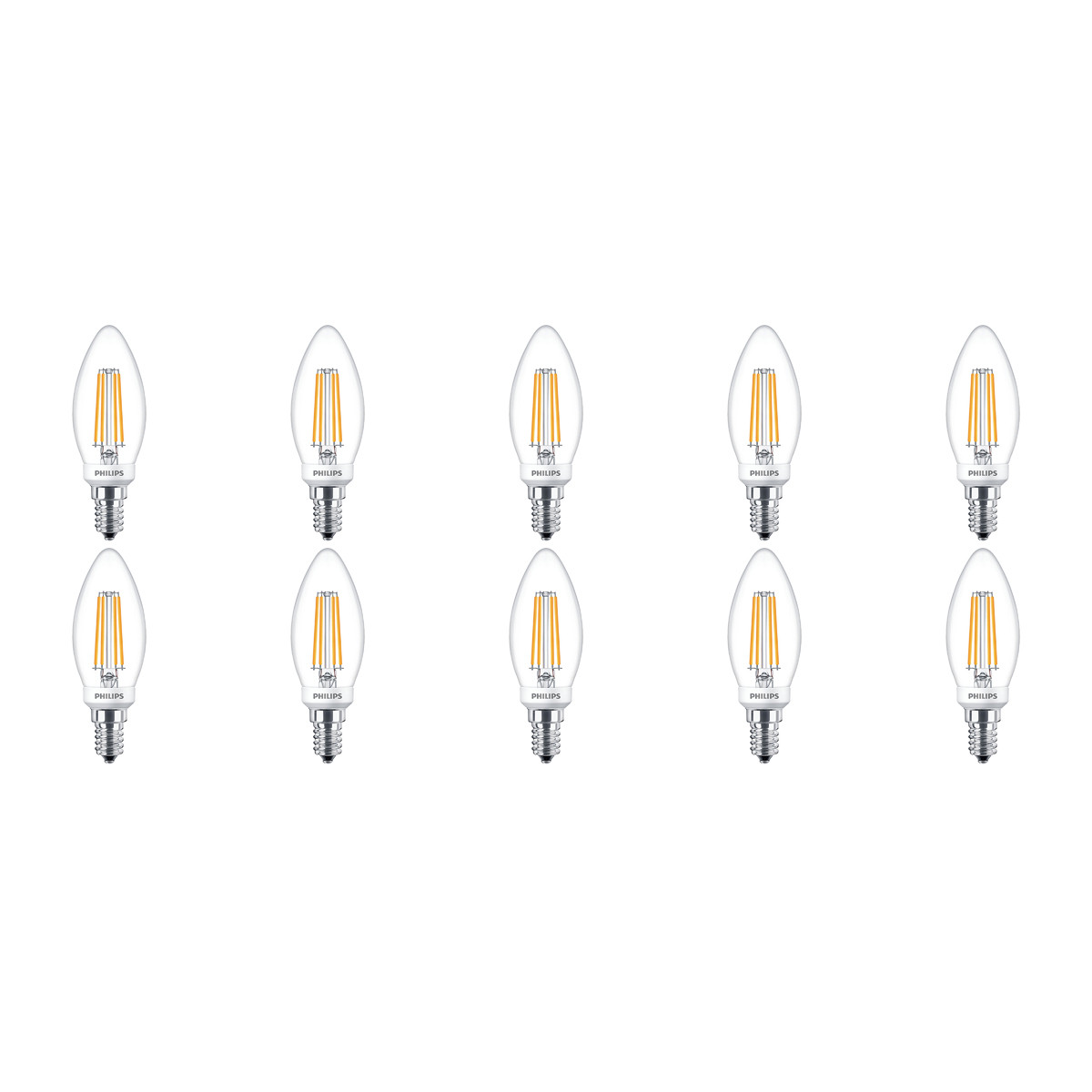 PHILIPS - LED Lamp Filament 10 Pack - Classic LEDCandle 827 B35 CL - E14 Fitting - Dimbaar - 5W - Wa