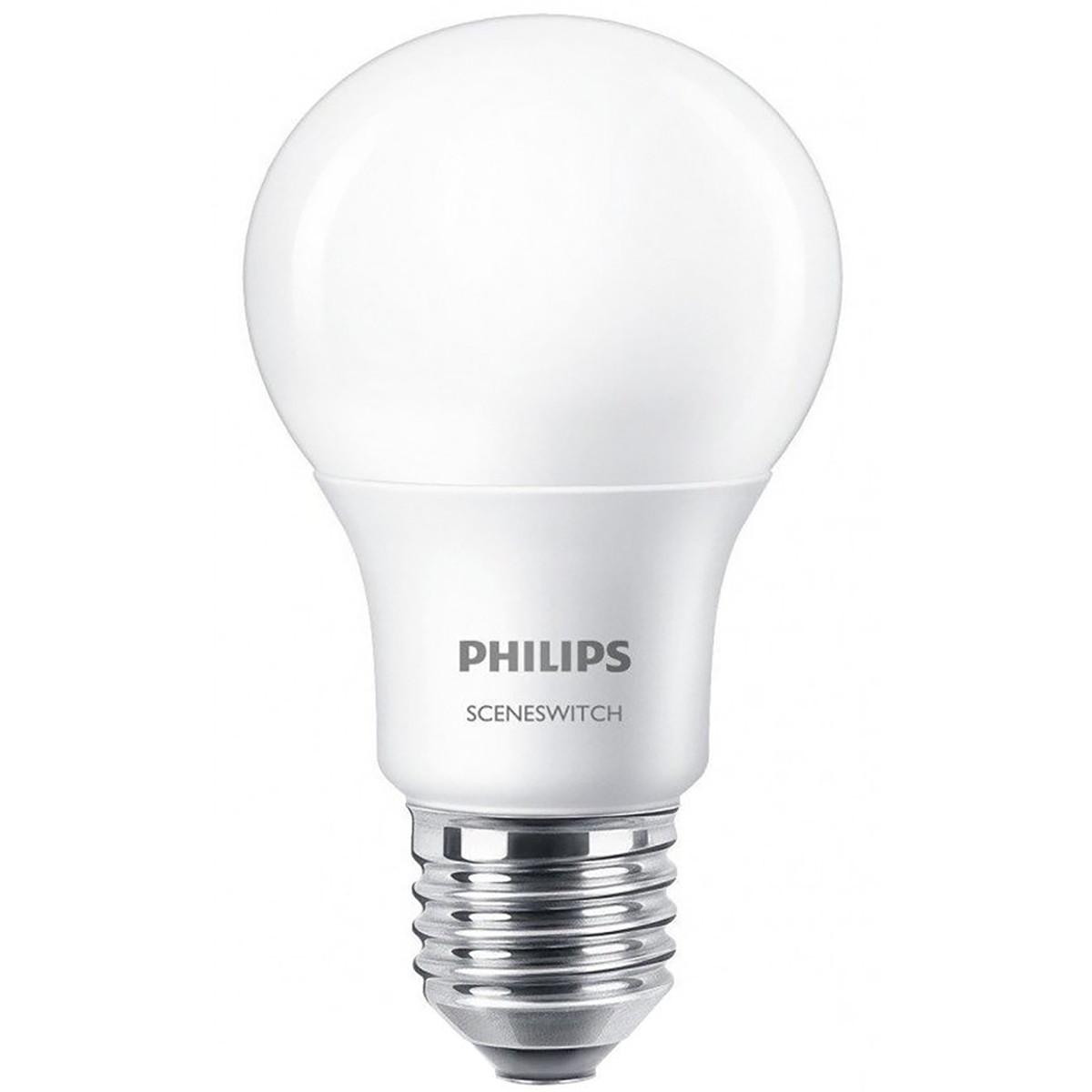 PHILIPS - LED Lamp - SceneSwitch 827 A60 - E27 Fitting - Dimbaar - 2W-8W - Warm Wit 2200K-2700K | Ve