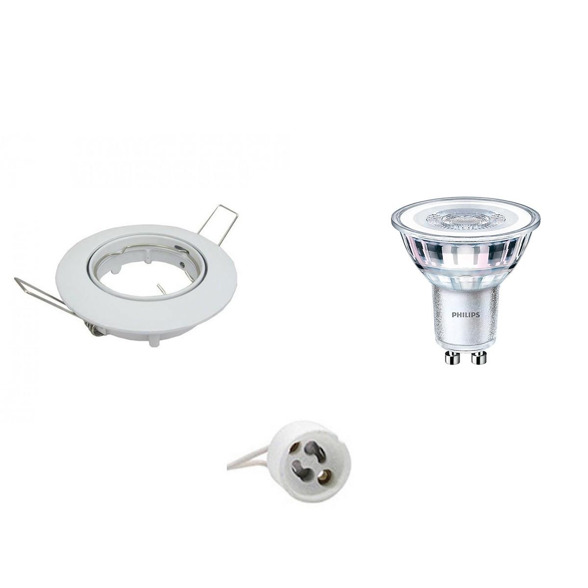 PHILIPS - LED Spot Set - CorePro 830 36D - GU10 Fitting - Inbouw Rond - Glans Wit - 3.5W - Warm Wit